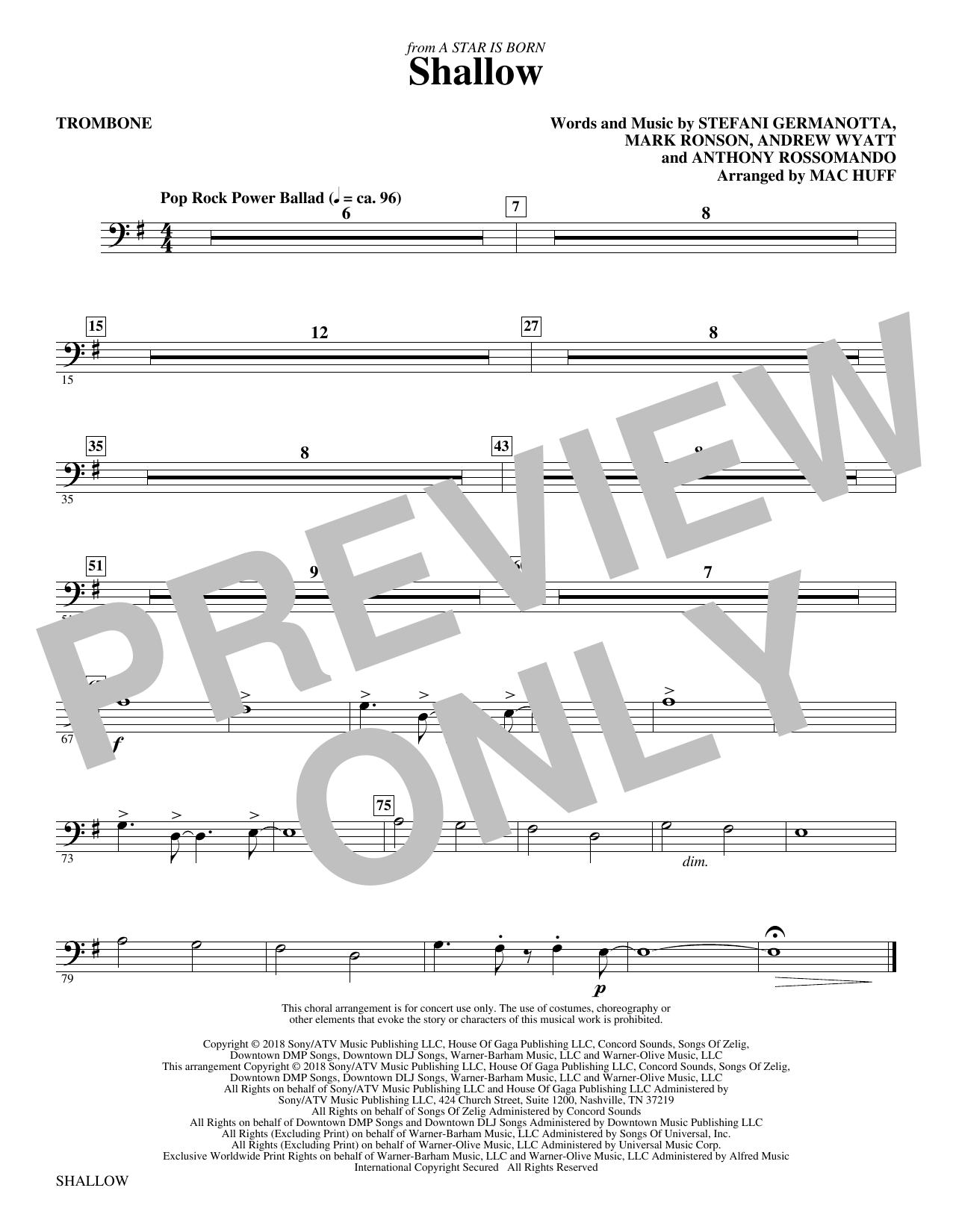 Shallow (from A Star Is Born) (arr. Mac Huff) - Trombone (Choir Instrumental Pak)