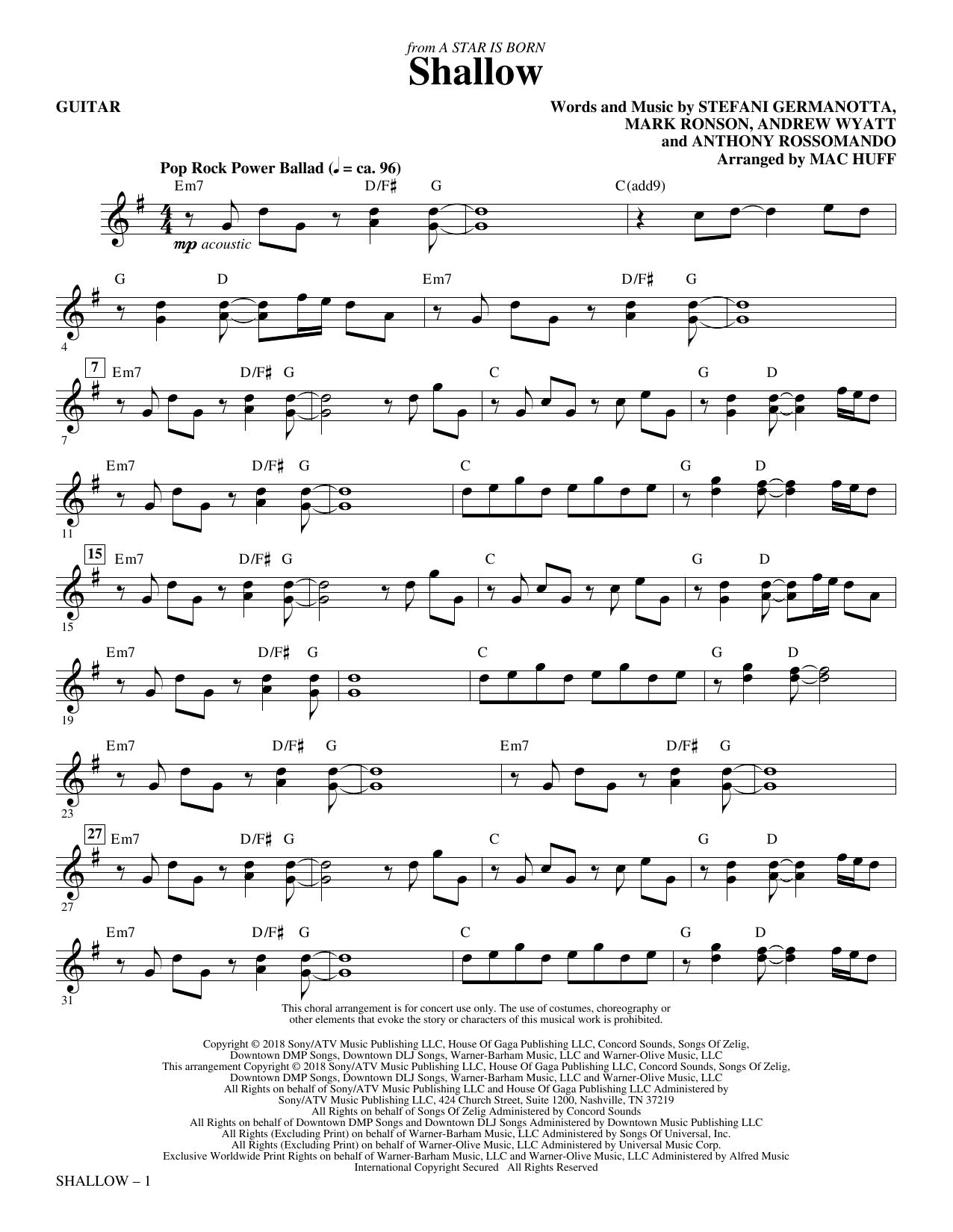 Shallow (from A Star Is Born) (arr. Mac Huff) - Guitar Digitale Noten