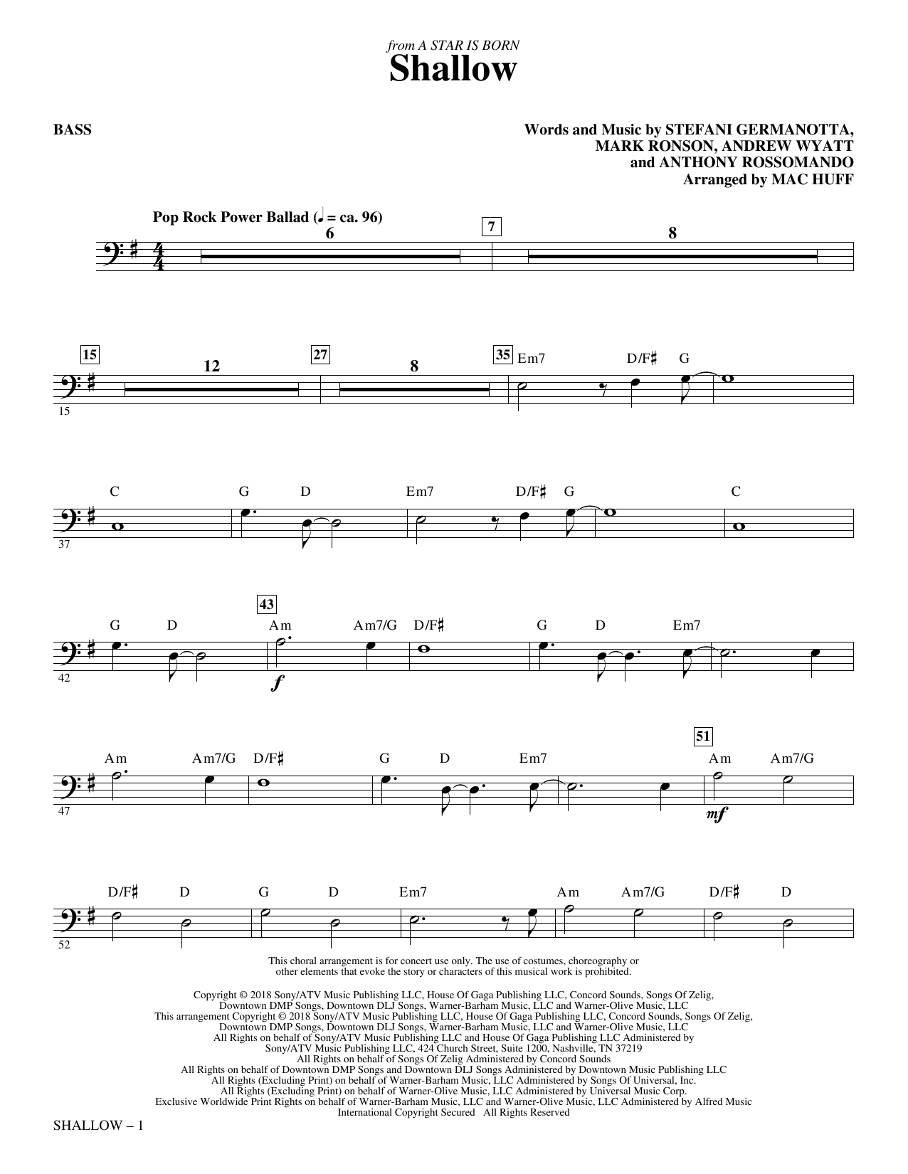Shallow (from A Star Is Born) (arr. Mac Huff) - Bass Digitale Noten