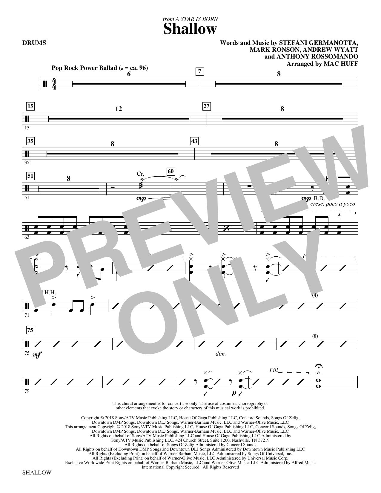 Shallow (from A Star Is Born) (arr. Mac Huff) - Drums (Choir Instrumental Pak)