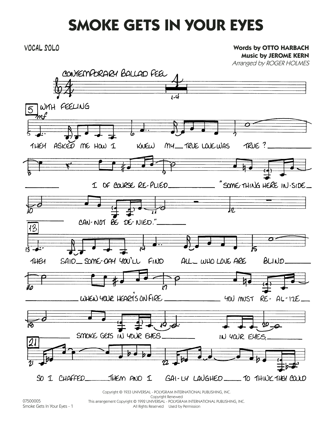 page one of Smoke Gets In Your Eyes (arr. Roger Holmes) - Vocal SoloASALTTEXT
