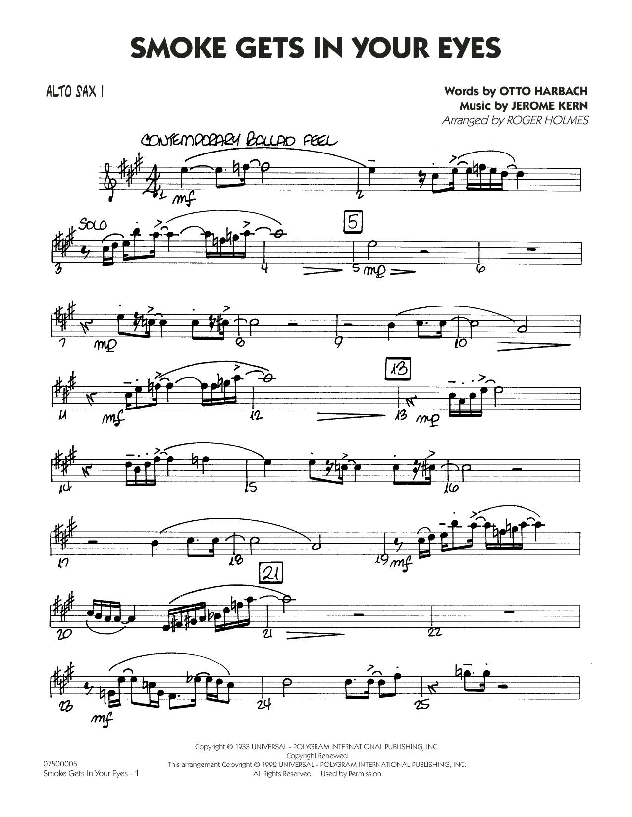 Smoke Gets In Your Eyes (arr. Roger Holmes) - Alto Sax 1 (Jazz Ensemble)