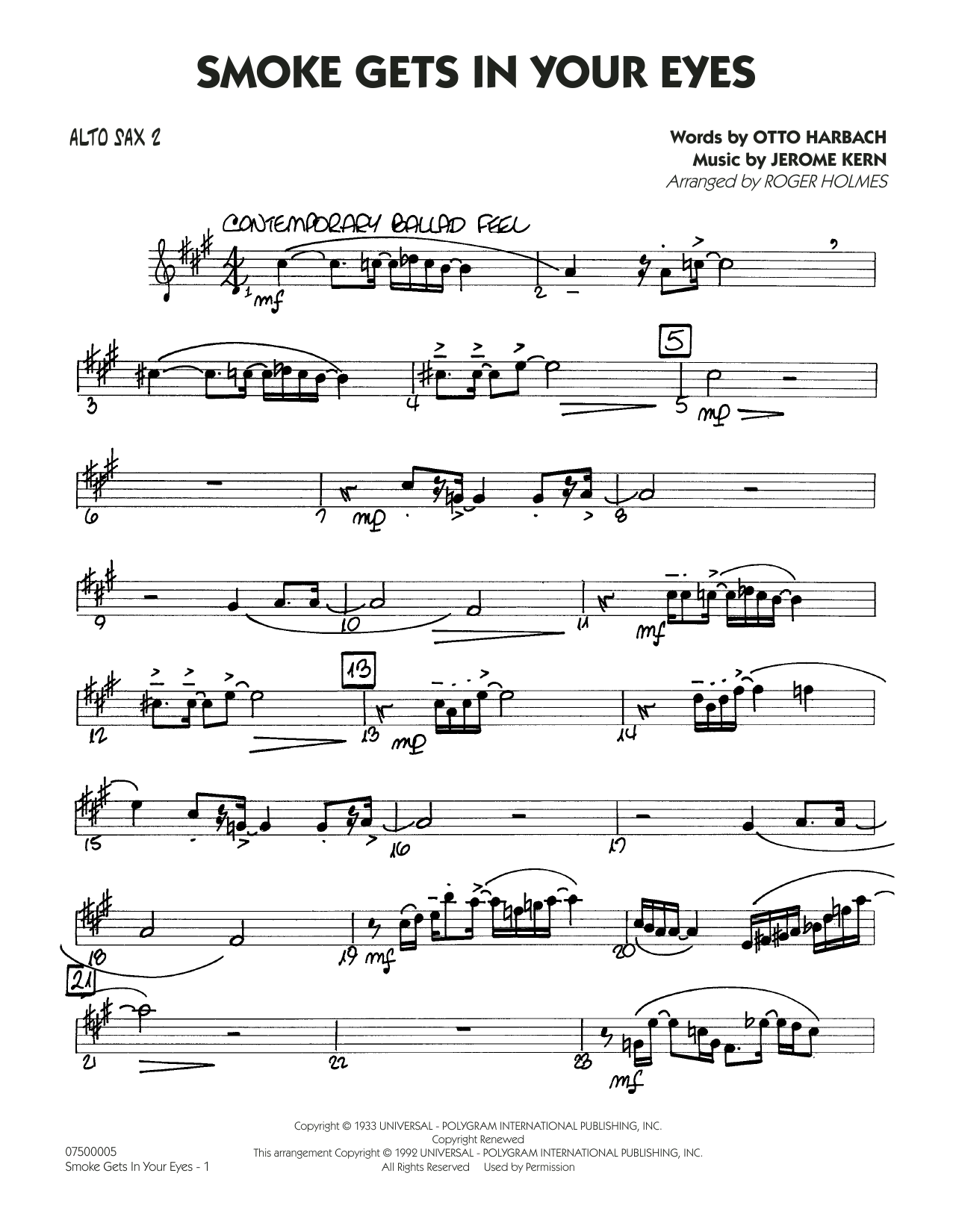 page one of Smoke Gets In Your Eyes (arr. Roger Holmes) - Alto Sax 2ASALTTEXT
