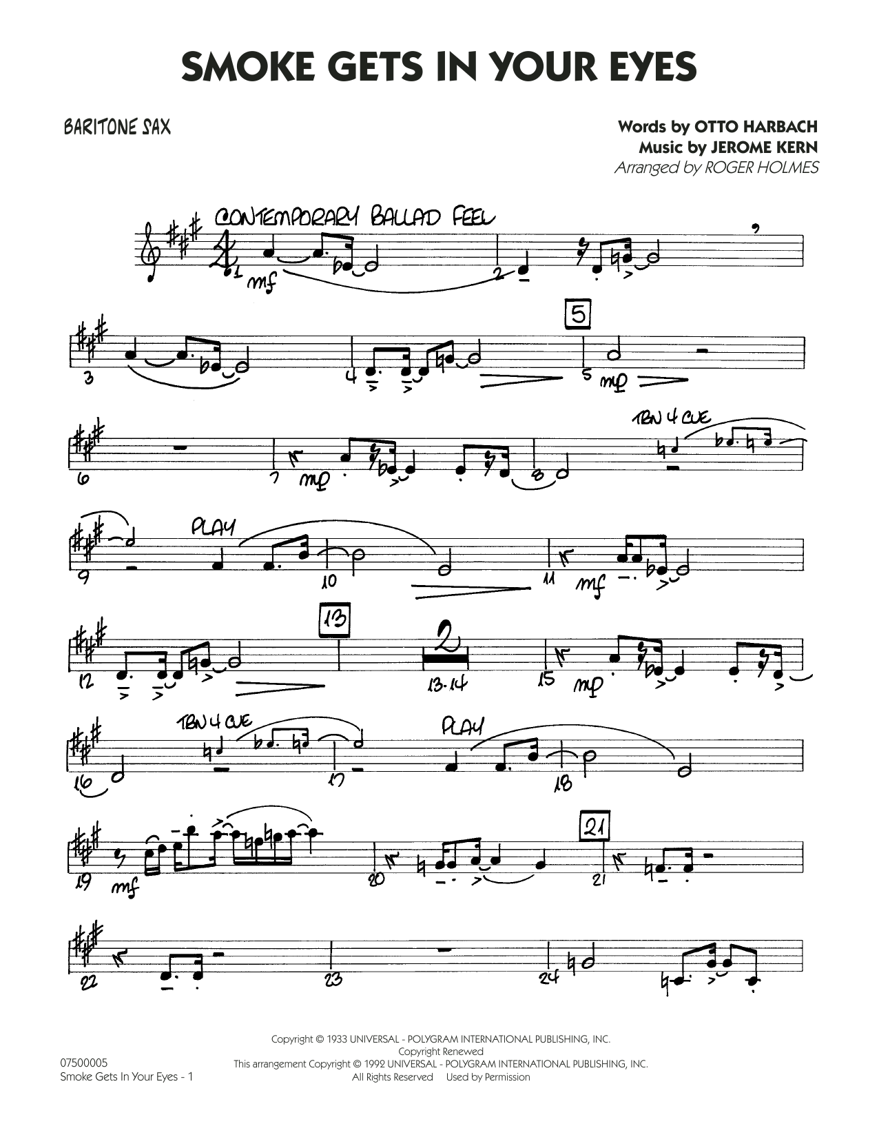 Smoke Gets In Your Eyes (arr. Roger Holmes) - Baritone Sax (Jazz Ensemble)