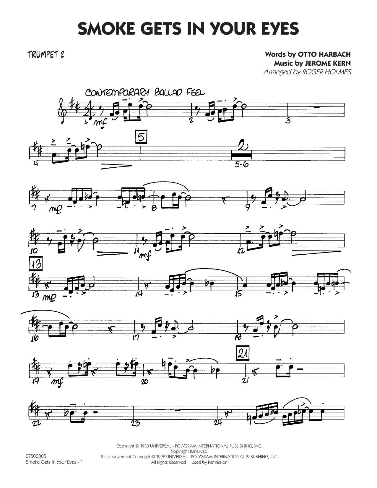 page one of Smoke Gets In Your Eyes (arr. Roger Holmes) - Trumpet 2ASALTTEXT
