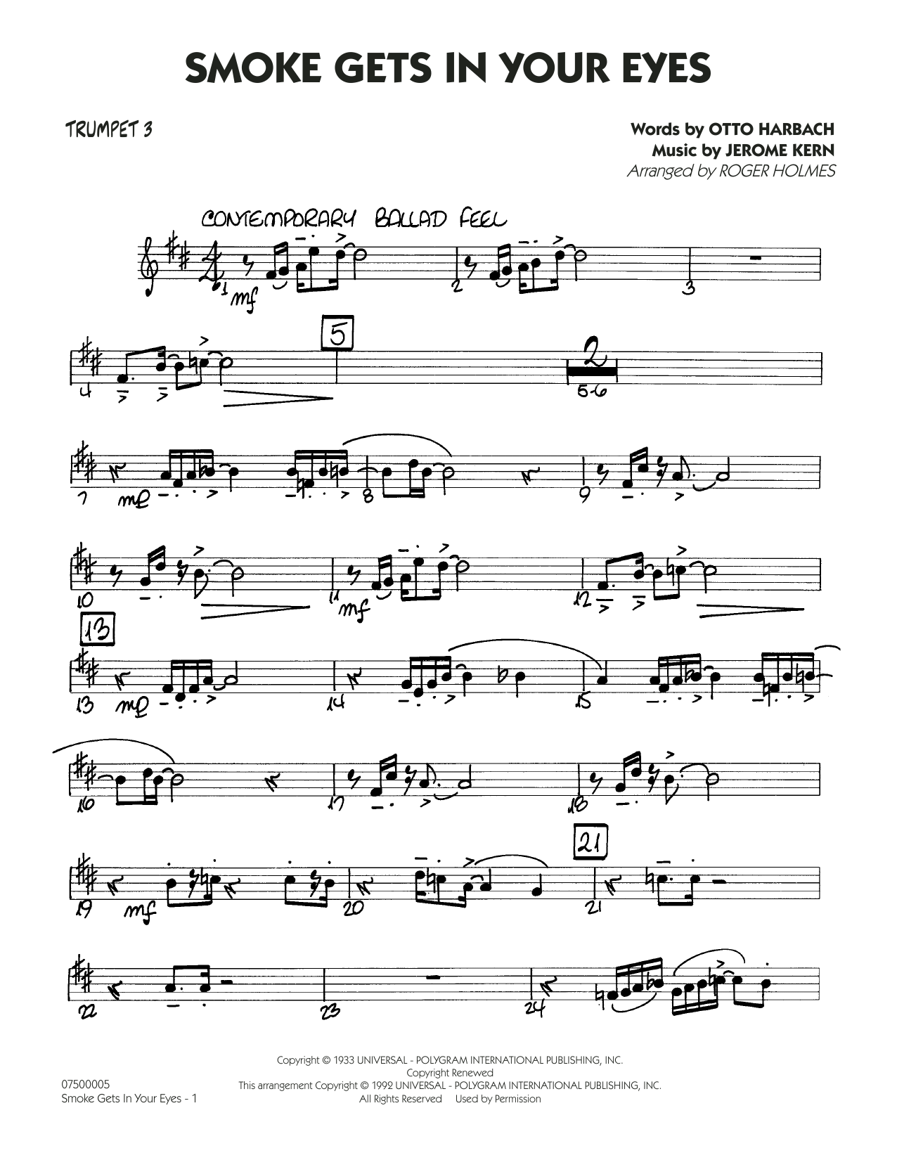 Smoke Gets In Your Eyes (arr. Roger Holmes) - Trumpet 3 (Jazz Ensemble)