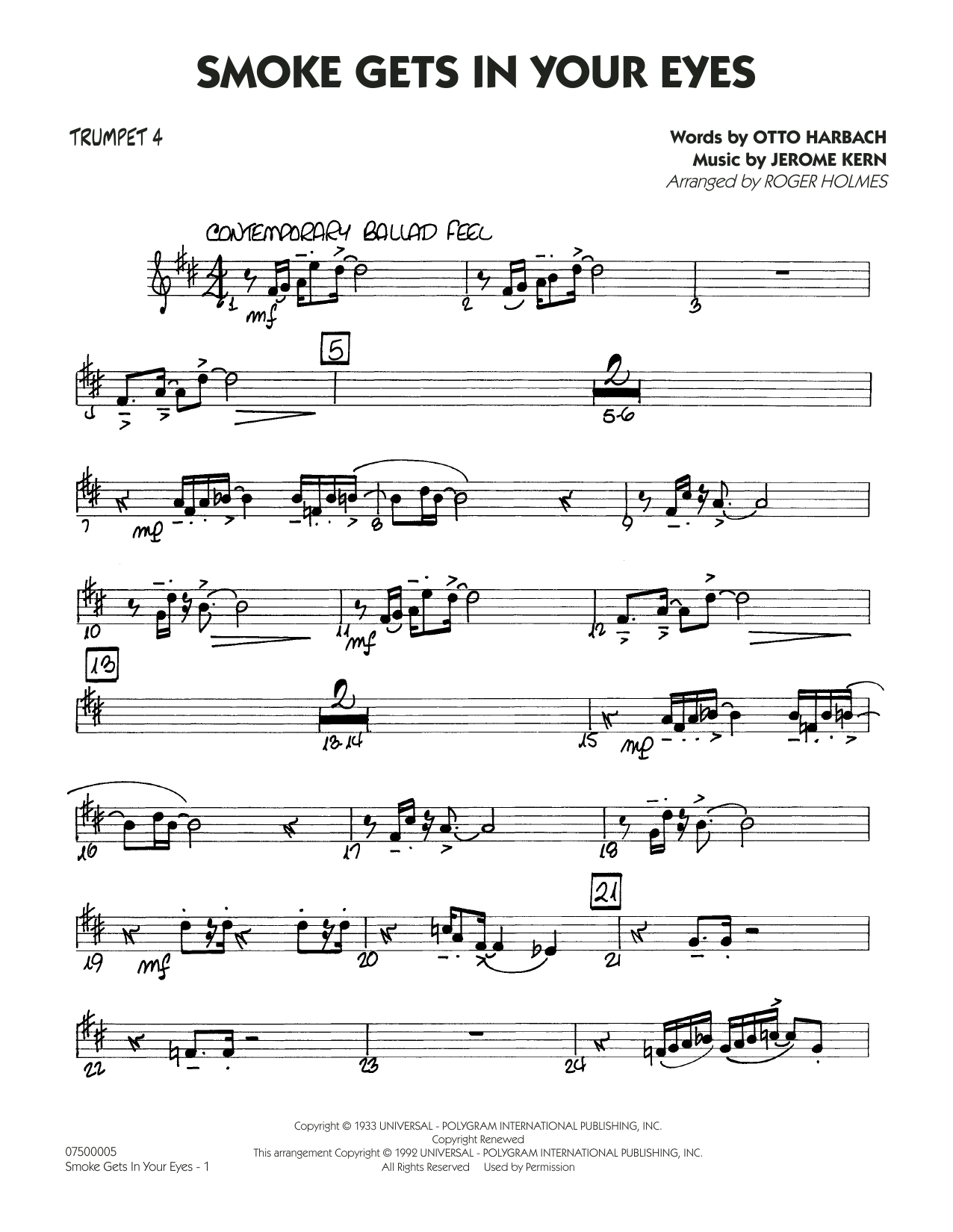 Smoke Gets In Your Eyes (arr. Roger Holmes) - Trumpet 4 (Jazz Ensemble)