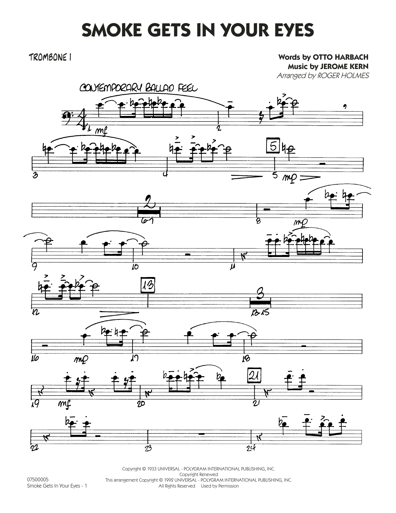 page one of Smoke Gets In Your Eyes (arr. Roger Holmes) - Trombone 1ASALTTEXT
