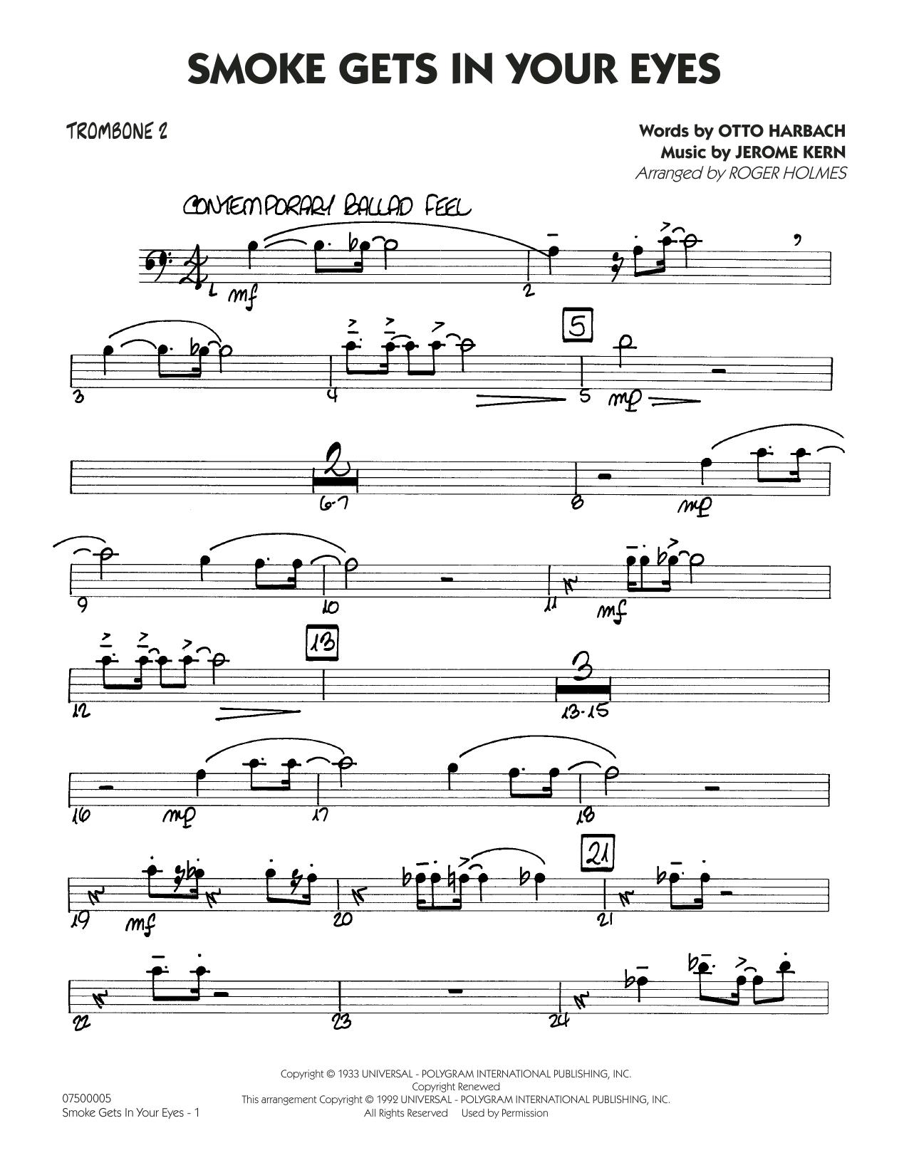 Smoke Gets In Your Eyes (arr. Roger Holmes) - Trombone 2 (Jazz Ensemble)
