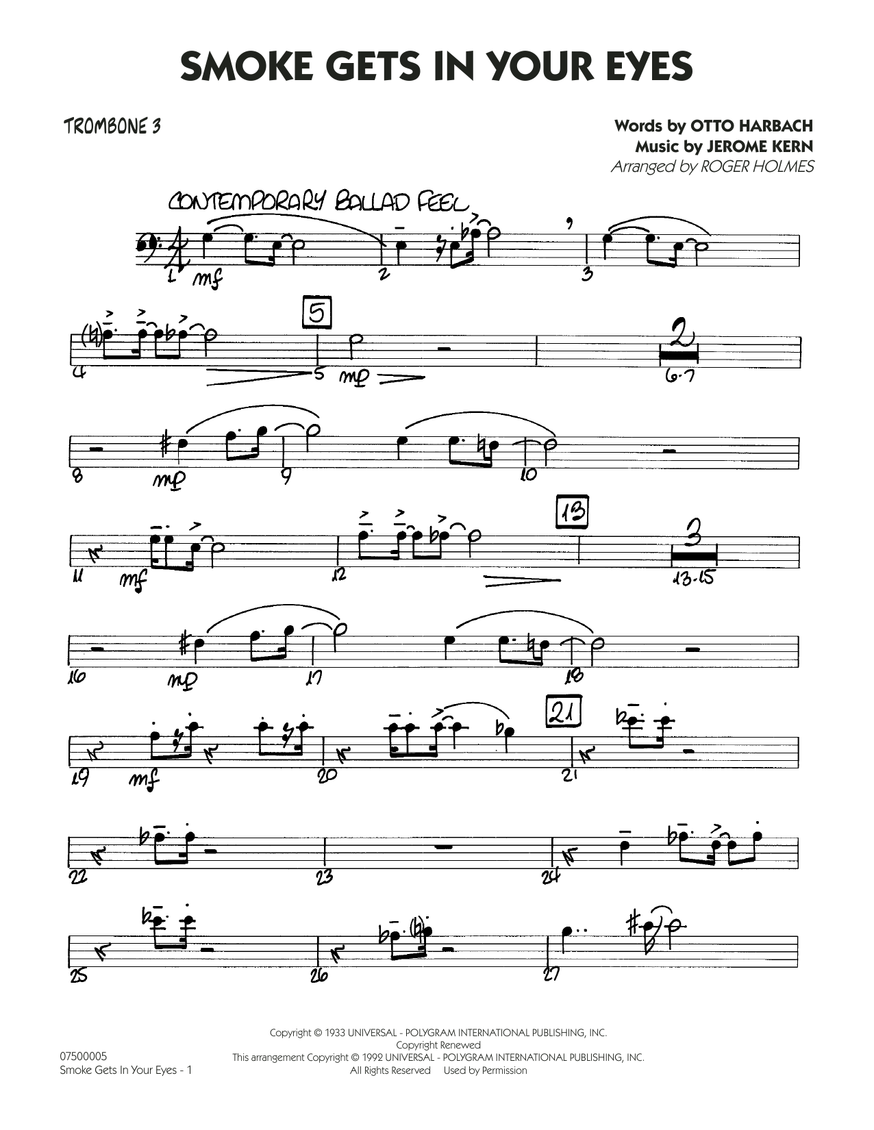 page one of Smoke Gets In Your Eyes (arr. Roger Holmes) - Trombone 3ASALTTEXT