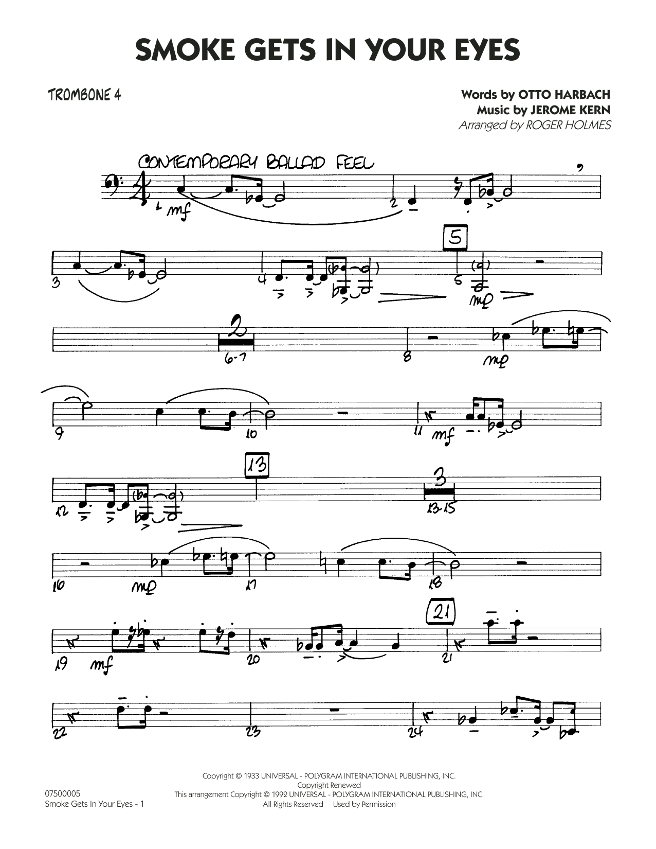 Smoke Gets In Your Eyes (arr. Roger Holmes) - Trombone 4 (Jazz Ensemble)