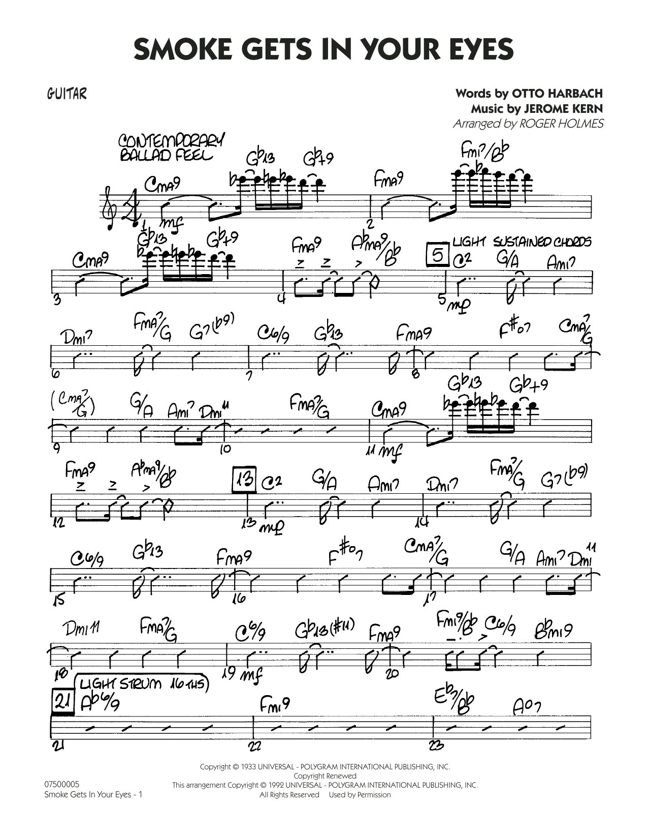 Smoke Gets In Your Eyes (arr. Roger Holmes) - Guitar (Jazz Ensemble)