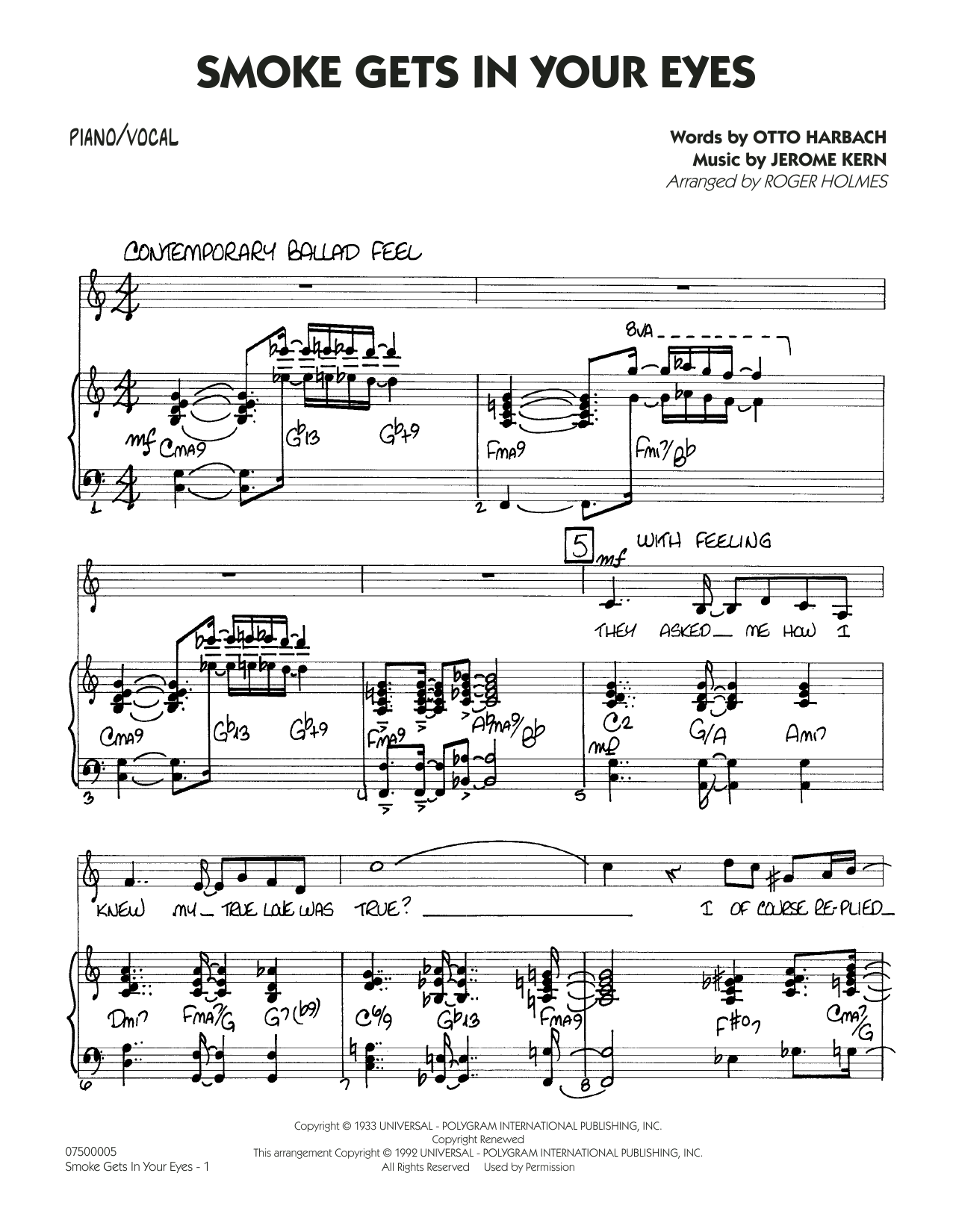 Smoke Gets In Your Eyes (arr. Roger Holmes) - Piano/Vocal (Jazz Ensemble)