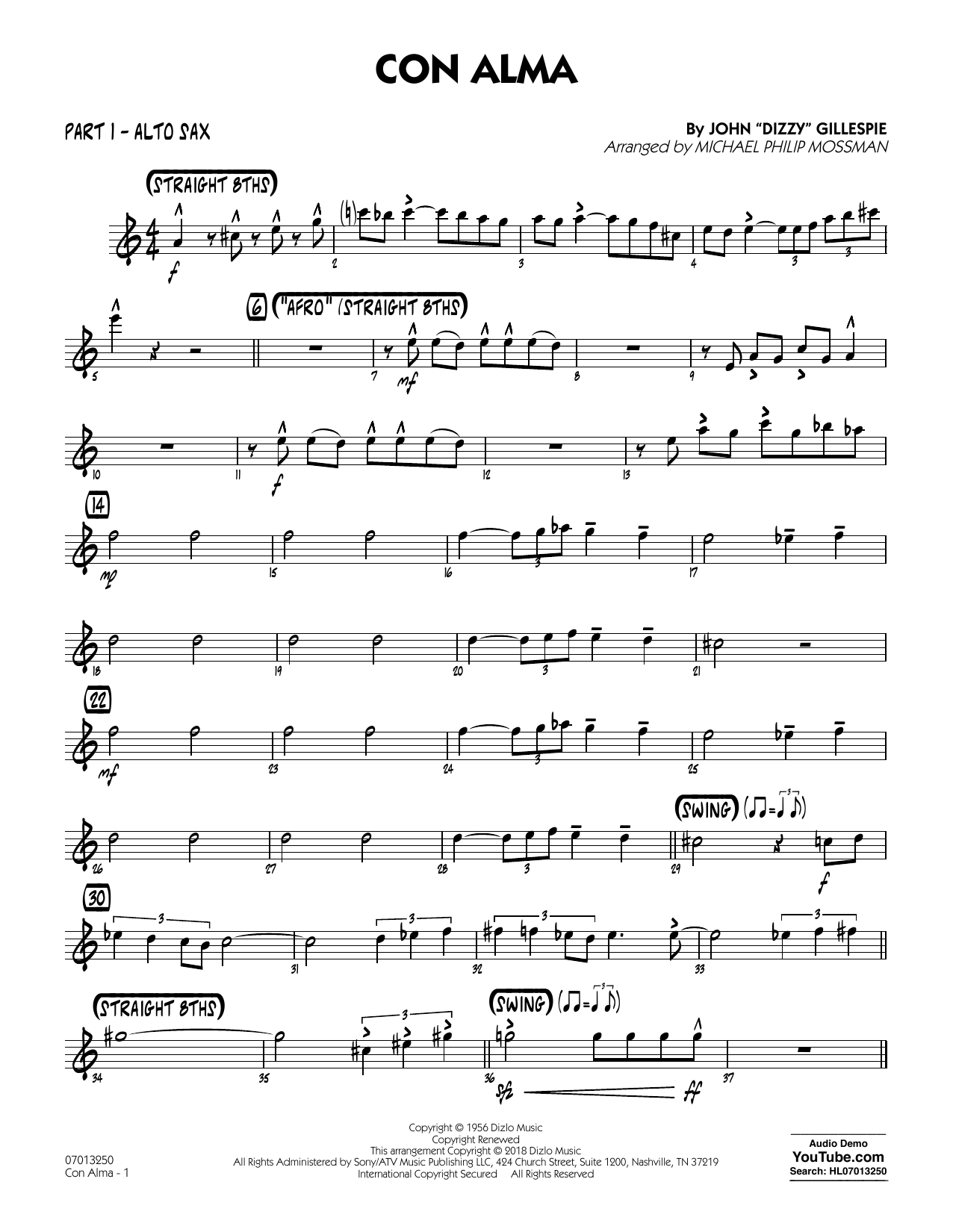 Con Alma (arr. Michael Mossman) - Part 1 - Alto Sax (Jazz Ensemble)