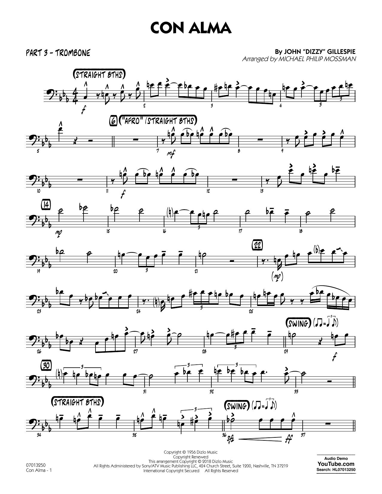 page one of Con Alma (arr. Michael Mossman) - Part 3 - TromboneASALTTEXT