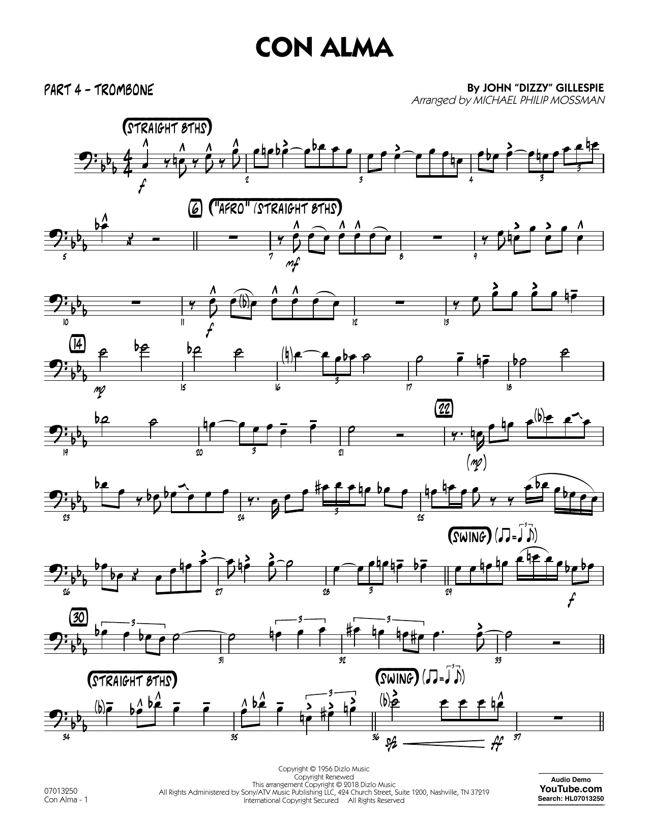 page one of Con Alma (arr. Michael Mossman) - Part 4 - TromboneASALTTEXT