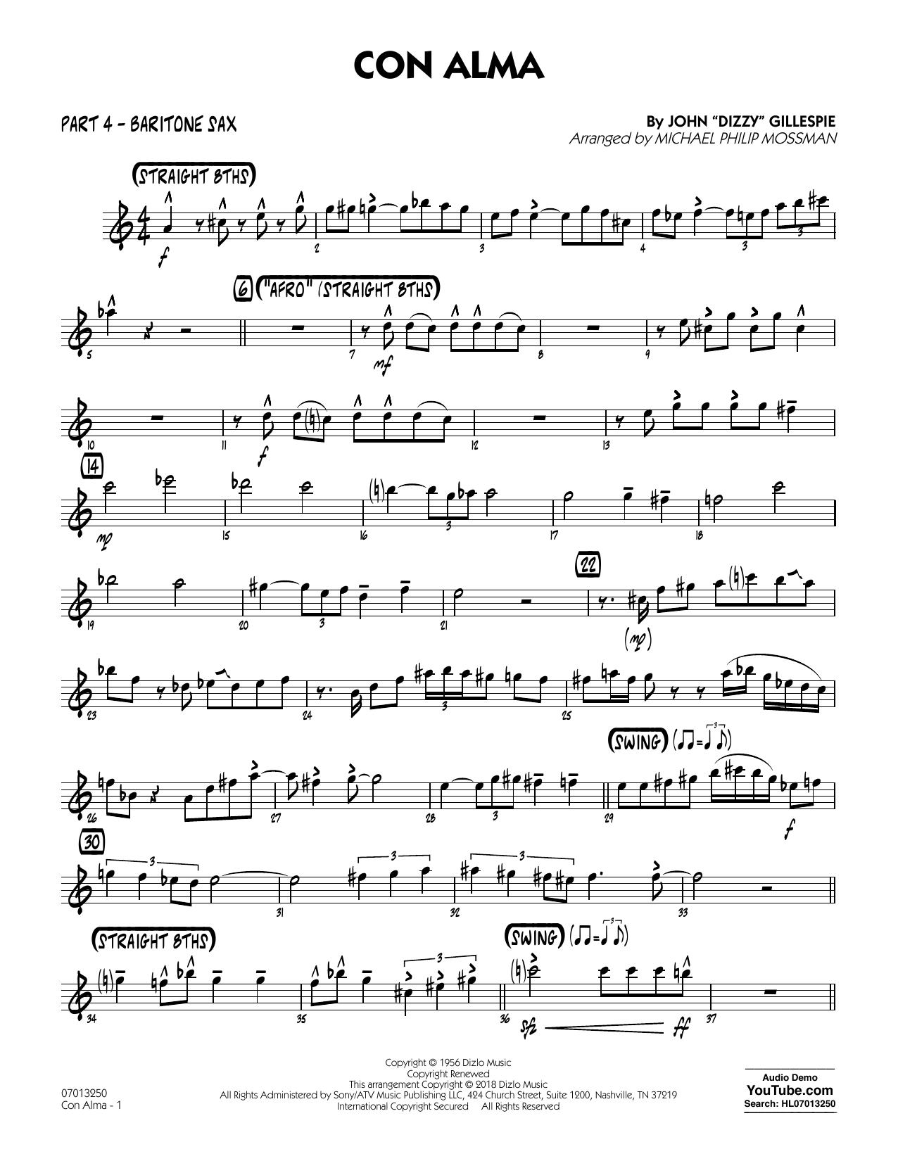 page one of Con Alma (arr. Michael Mossman) - Part 4 - Baritone SaxASALTTEXT