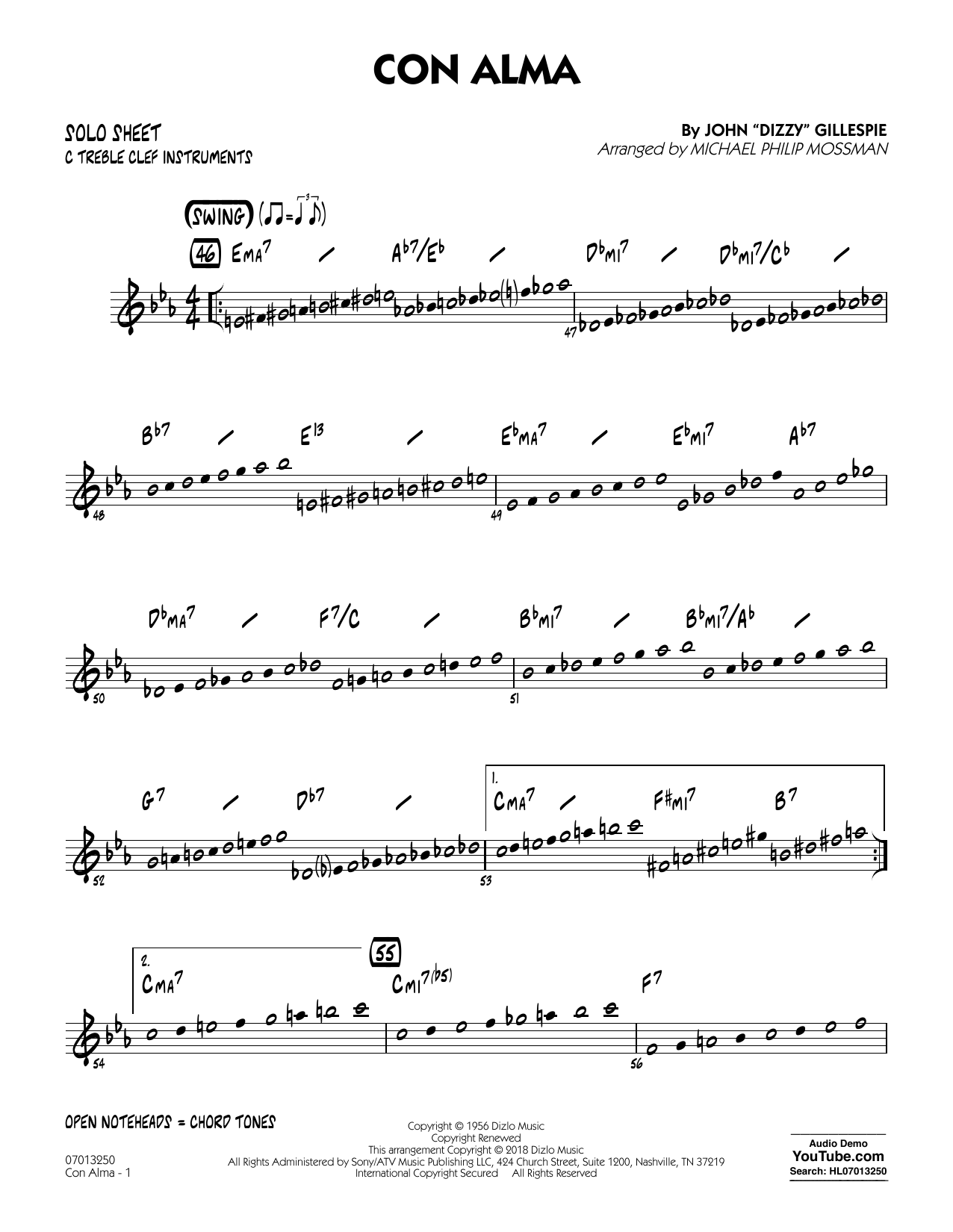 Con Alma (arr. Michael Mossman) - C Solo Sheet (Jazz Ensemble)