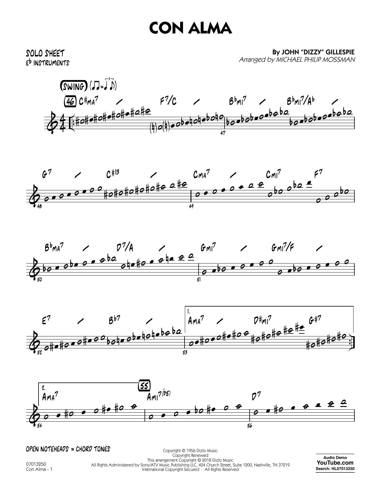 Con Alma (arr. Michael Mossman) - Eb Solo Sheet (Jazz Ensemble)