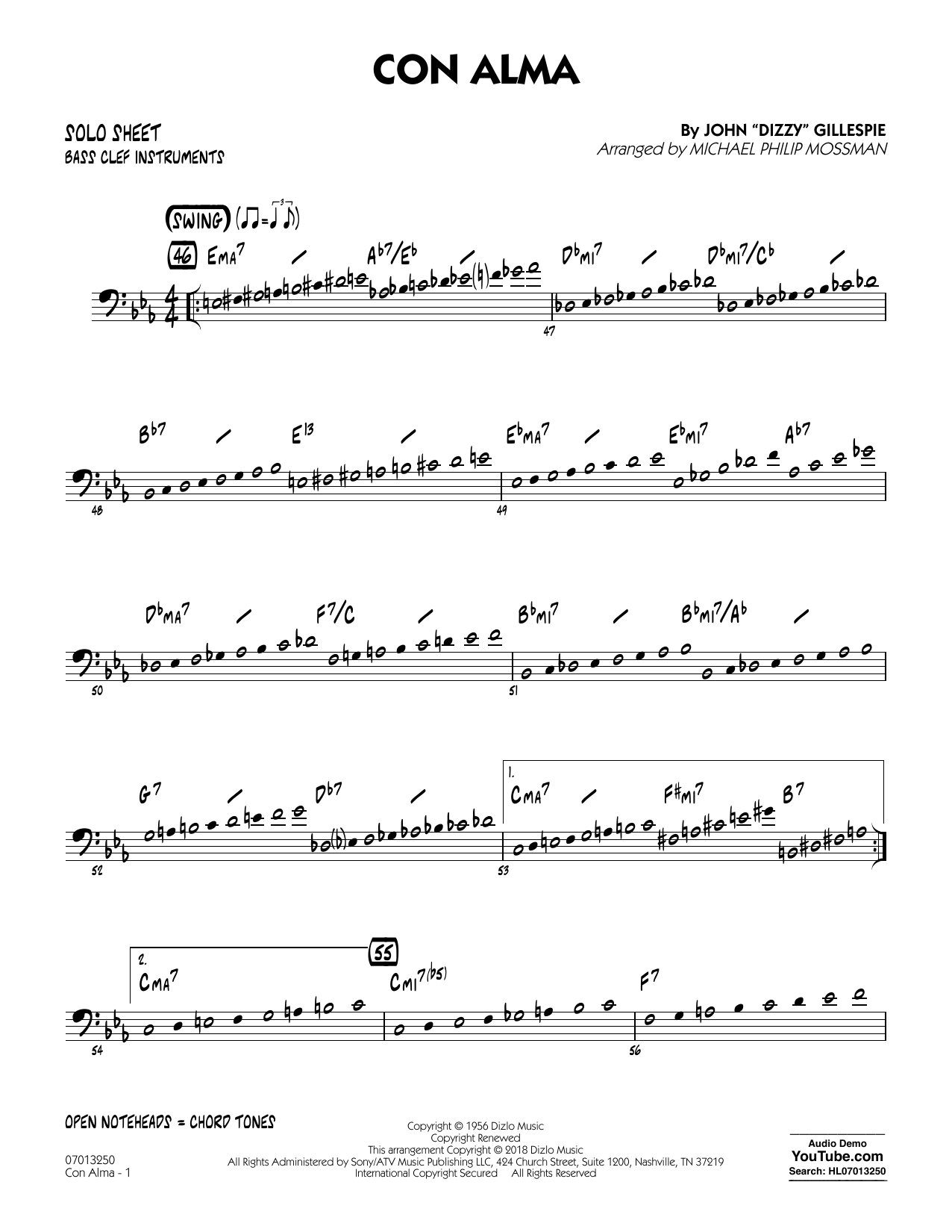page one of Con Alma (arr. Michael Mossman) - Bass Clef Solo SheetASALTTEXT