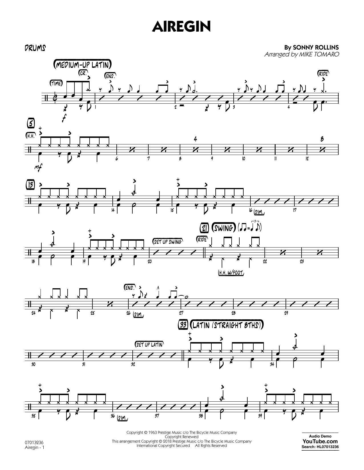 Airegin (arr. Mike Tomaro) - Drums (Jazz Ensemble)