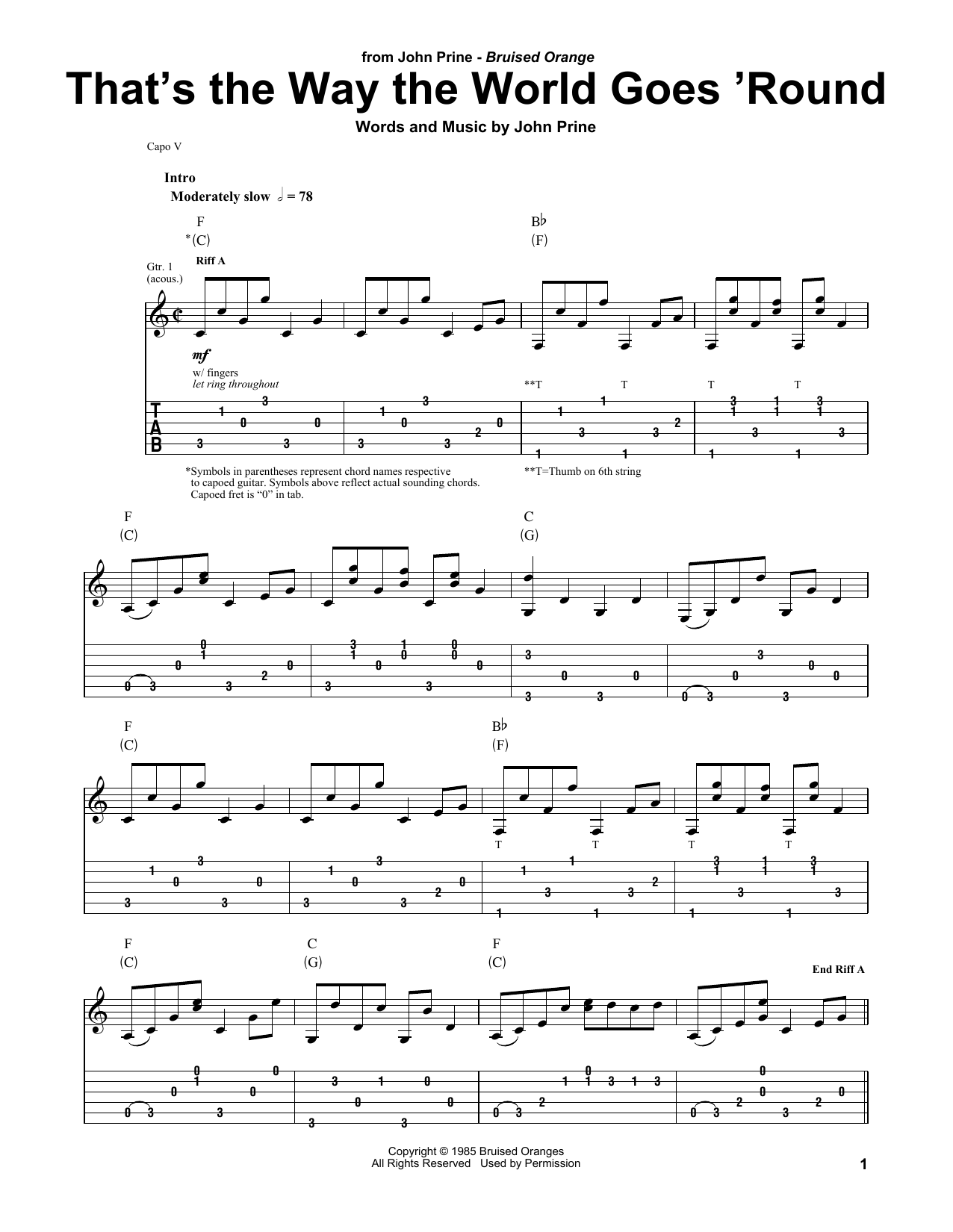 That's The Way The World Goes 'Round (Guitar Tab)