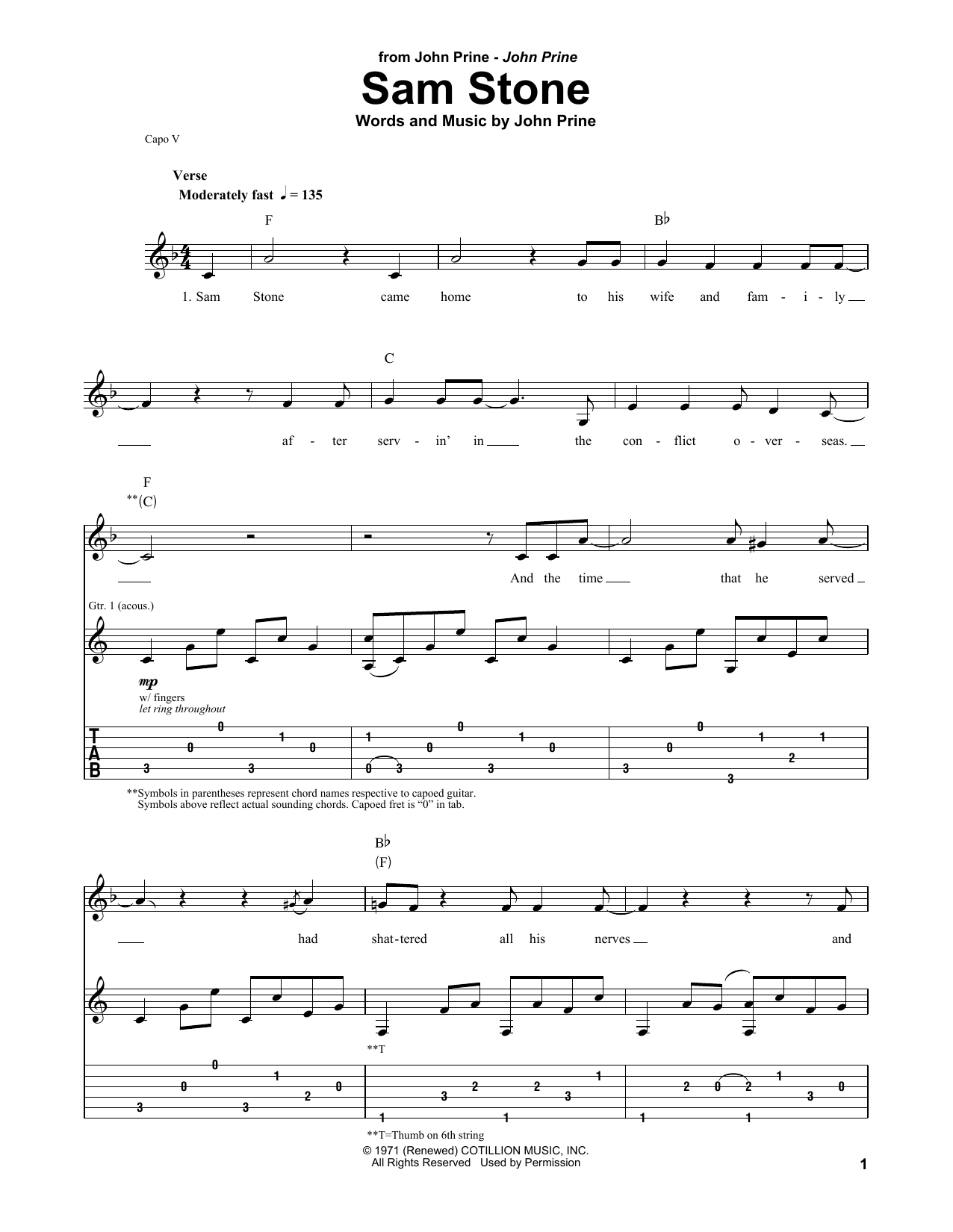 Sam Stone (Guitar Tab (Single Guitar))