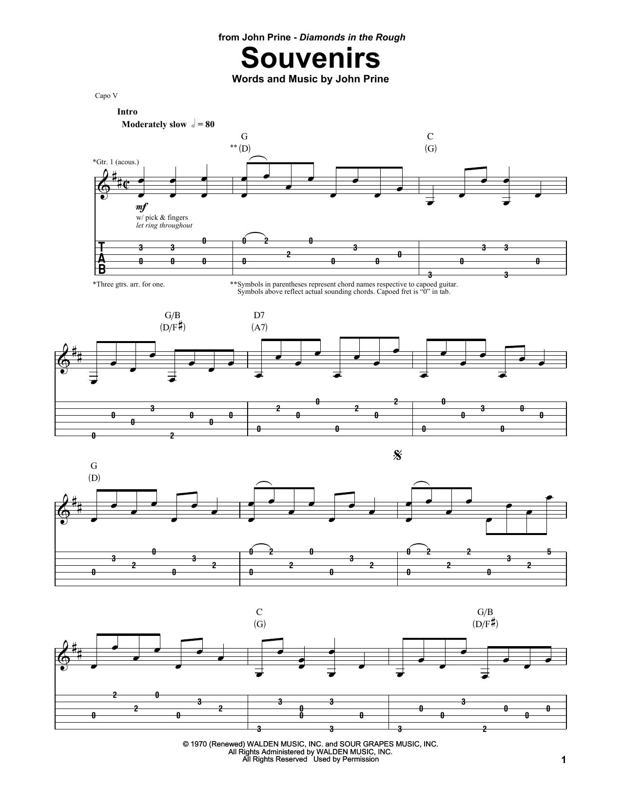 Souvenirs (Guitar Tab (Single Guitar))