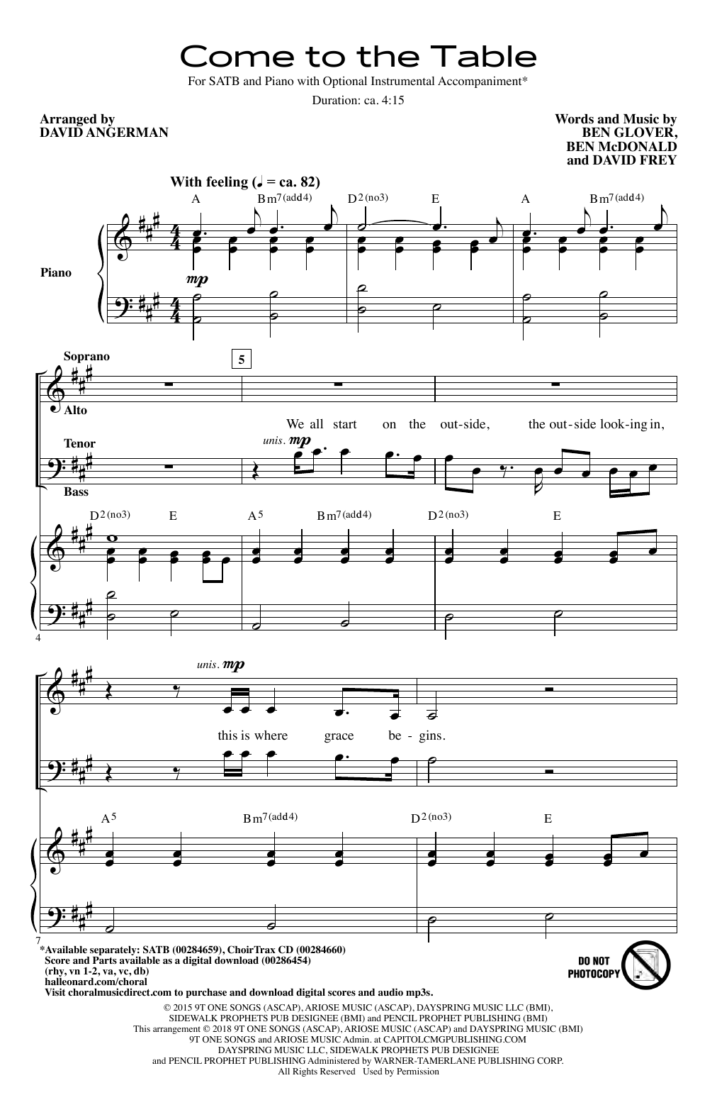 Come To The Table (arr. David Angerman) (SATB Choir)