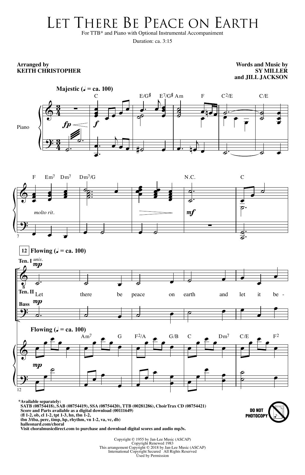 Let There Be Peace On Earth (arr. Keith Christopher) (TTB Choir)