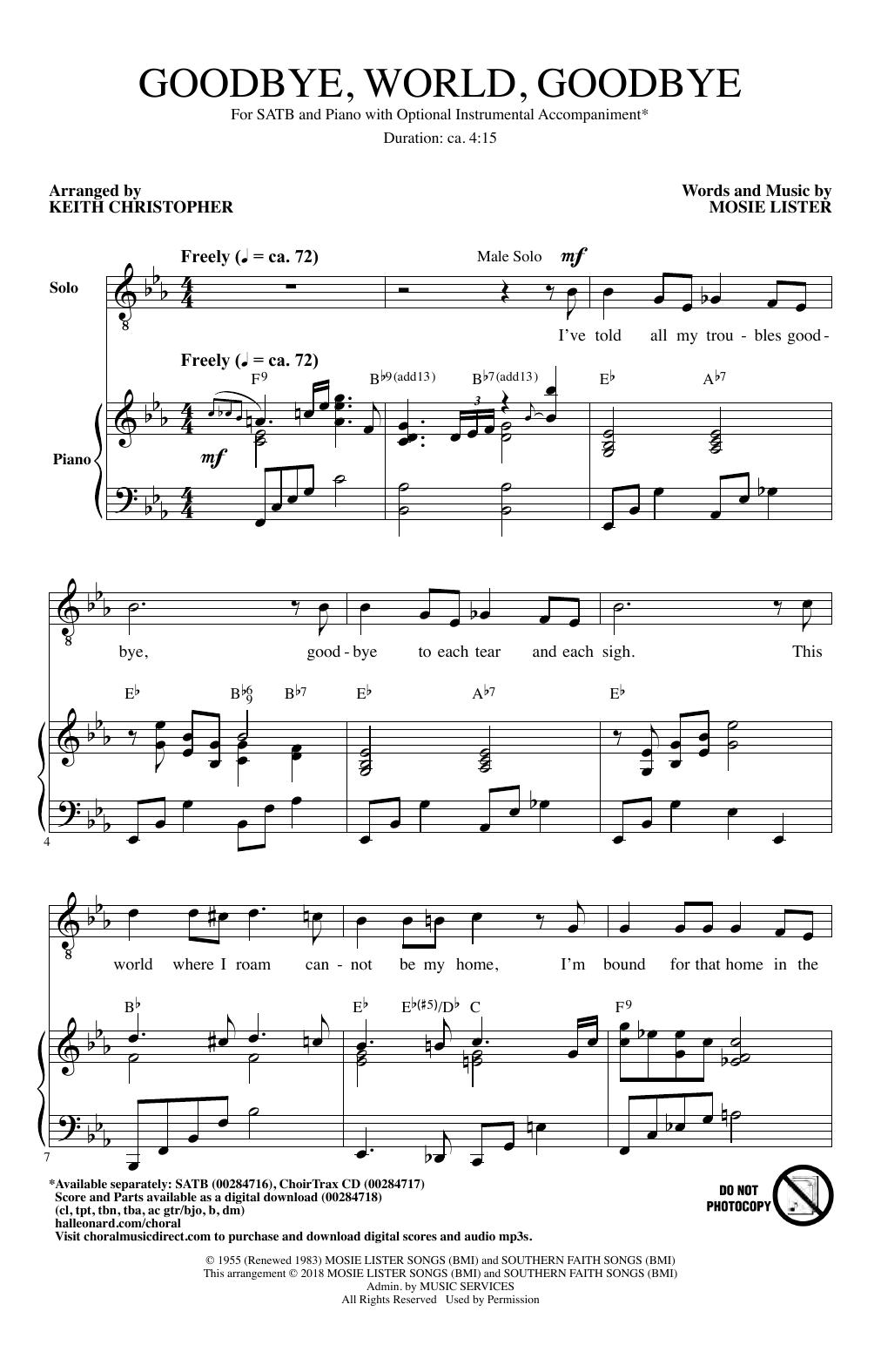 Goodbye World Goodbye (arr. Keith Christopher) (SATB Choir)