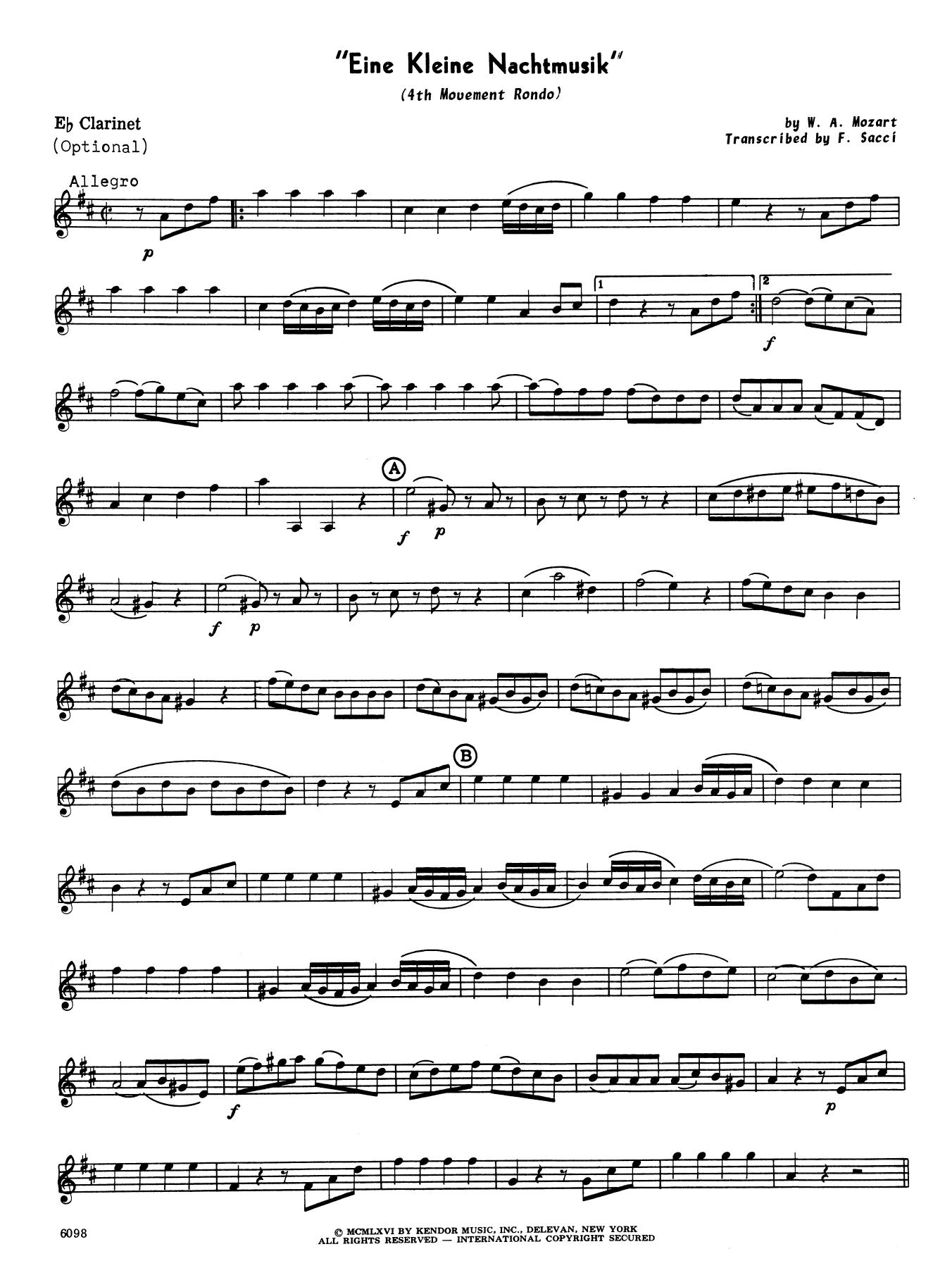 Eine Kleine Nachtmusik/Rondo (Mvt. 4) (arr. Frank Sacci) - Eb Clarinet  Noten   Wolfgang Mozart