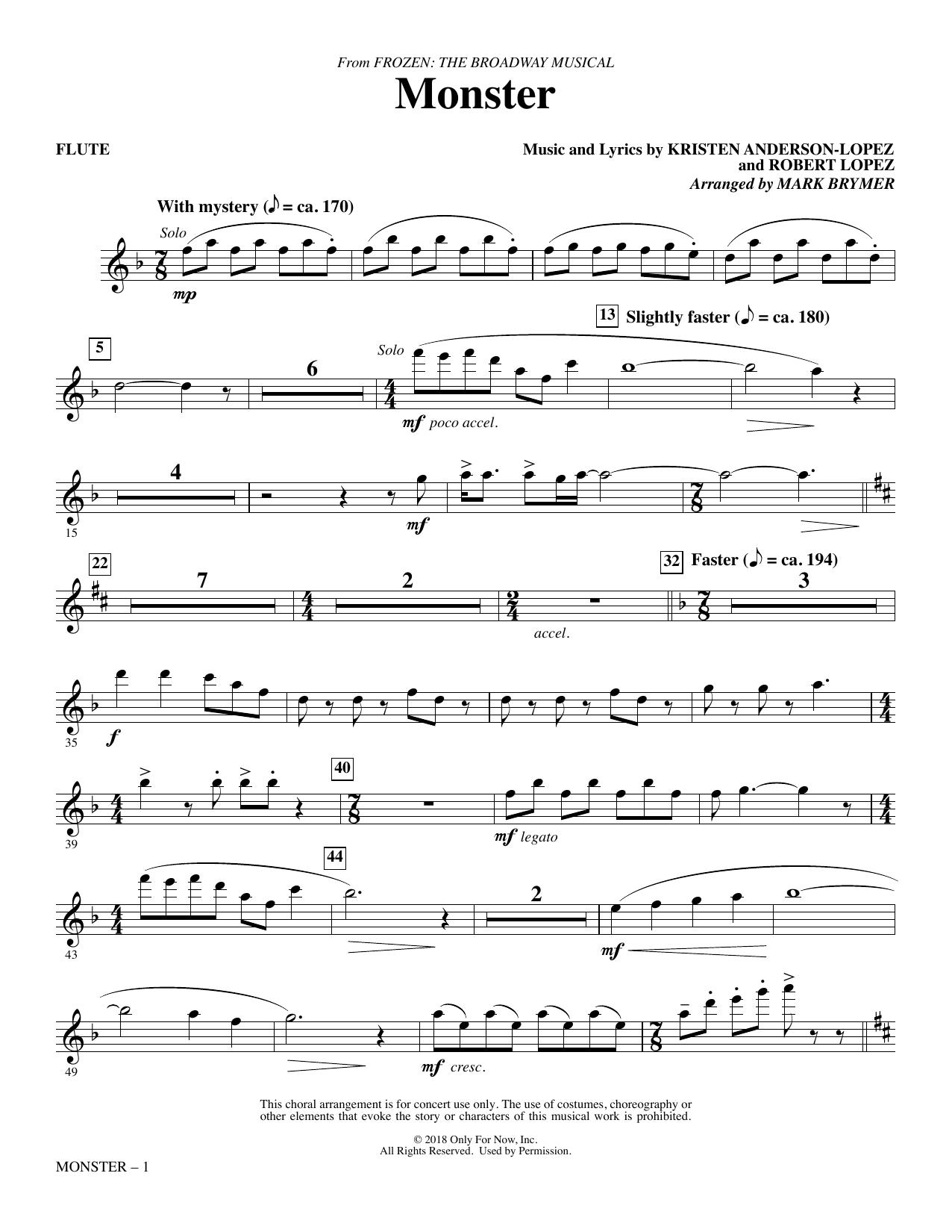 Monster (from Frozen The Broadway Musical) (arr. Mark Brymer) - Flute (Choir Instrumental Pak)