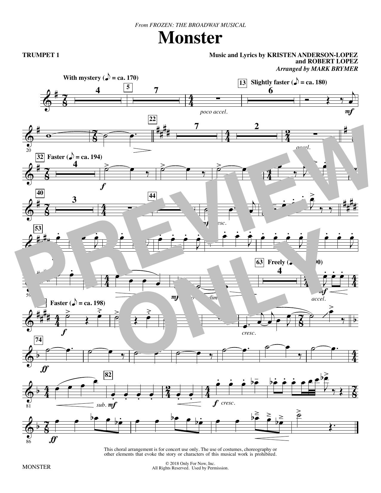 Monster (from Frozen The Broadway Musical) (arr. Mark Brymer) - Trumpet 1 (Choir Instrumental Pak)