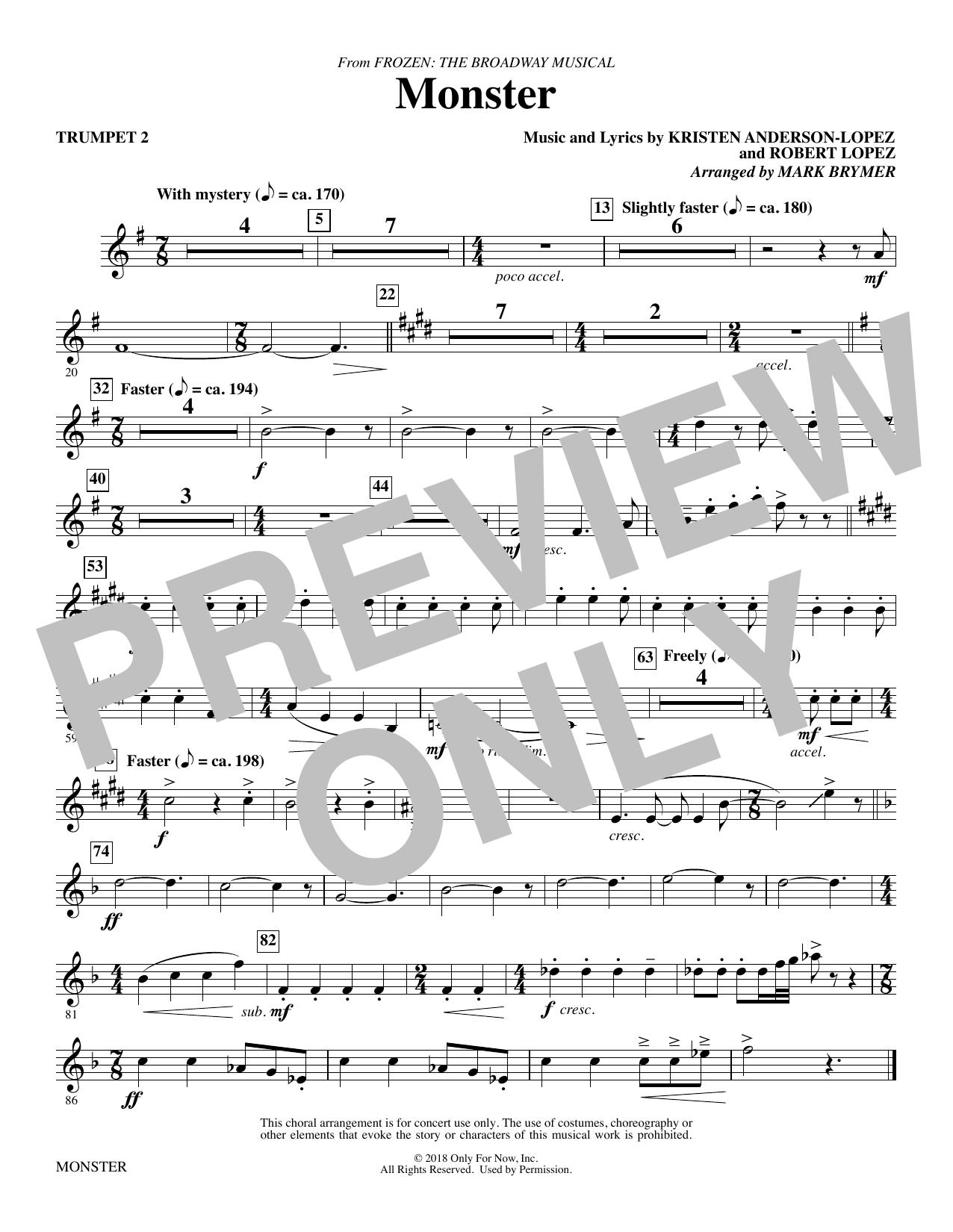 Monster (from Frozen The Broadway Musical) (arr. Mark Brymer) - Trumpet 2 (Choir Instrumental Pak)