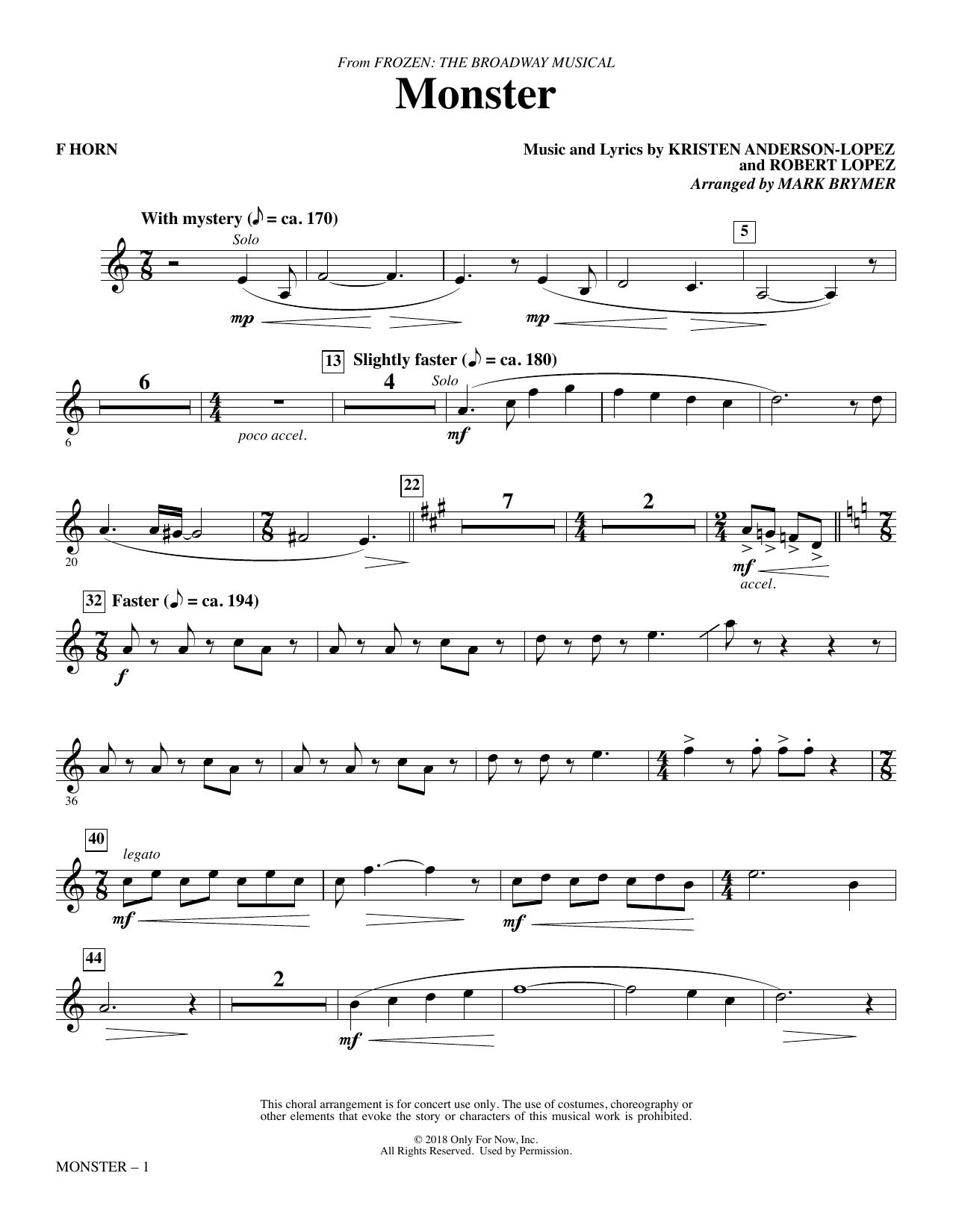 Monster (from Frozen The Broadway Musical) (arr. Mark Brymer) - F Horn (Choir Instrumental Pak)