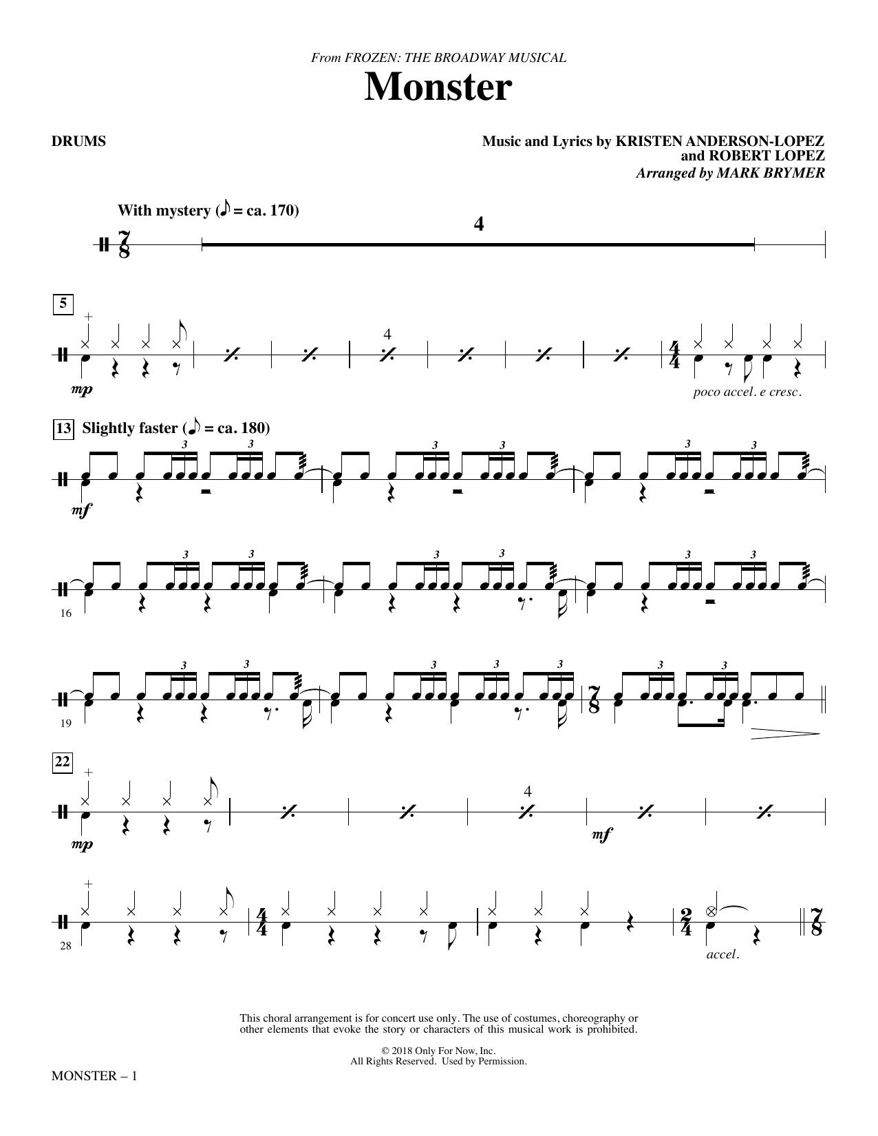Monster (from Frozen The Broadway Musical) (arr. Mark Brymer) - Drums (Choir Instrumental Pak)