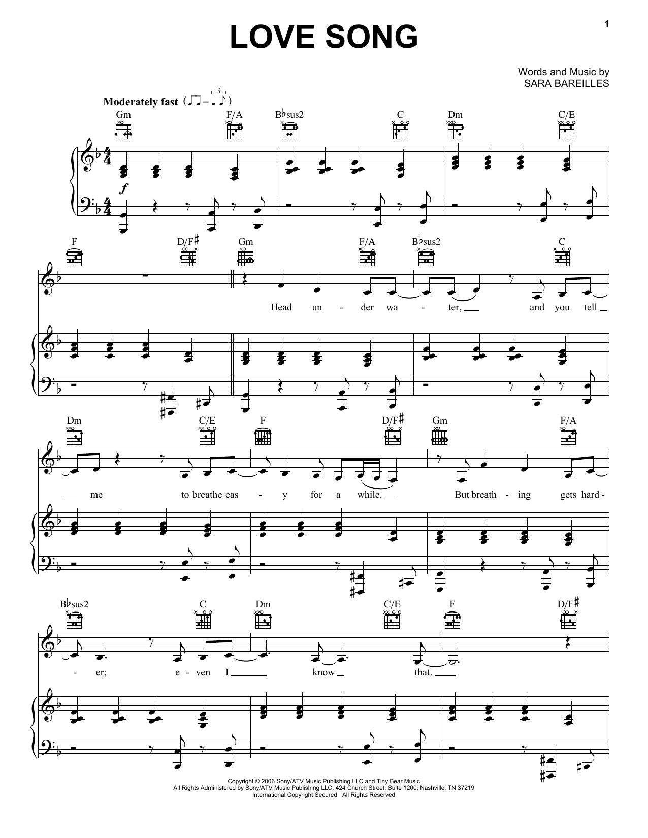 page one of Love SongASALTTEXT