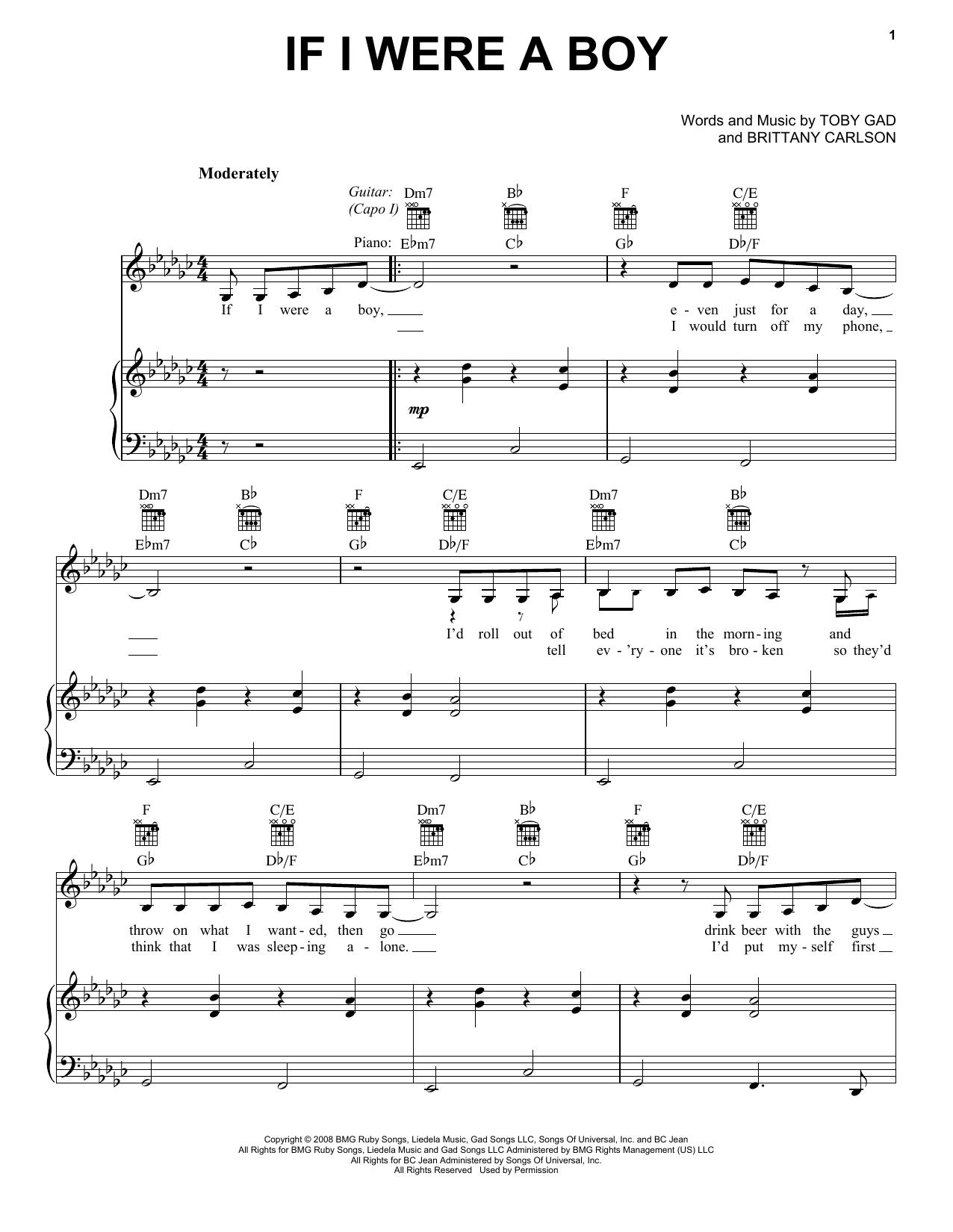 If I Were A Boy (Vocal Pro + Piano/Guitar)