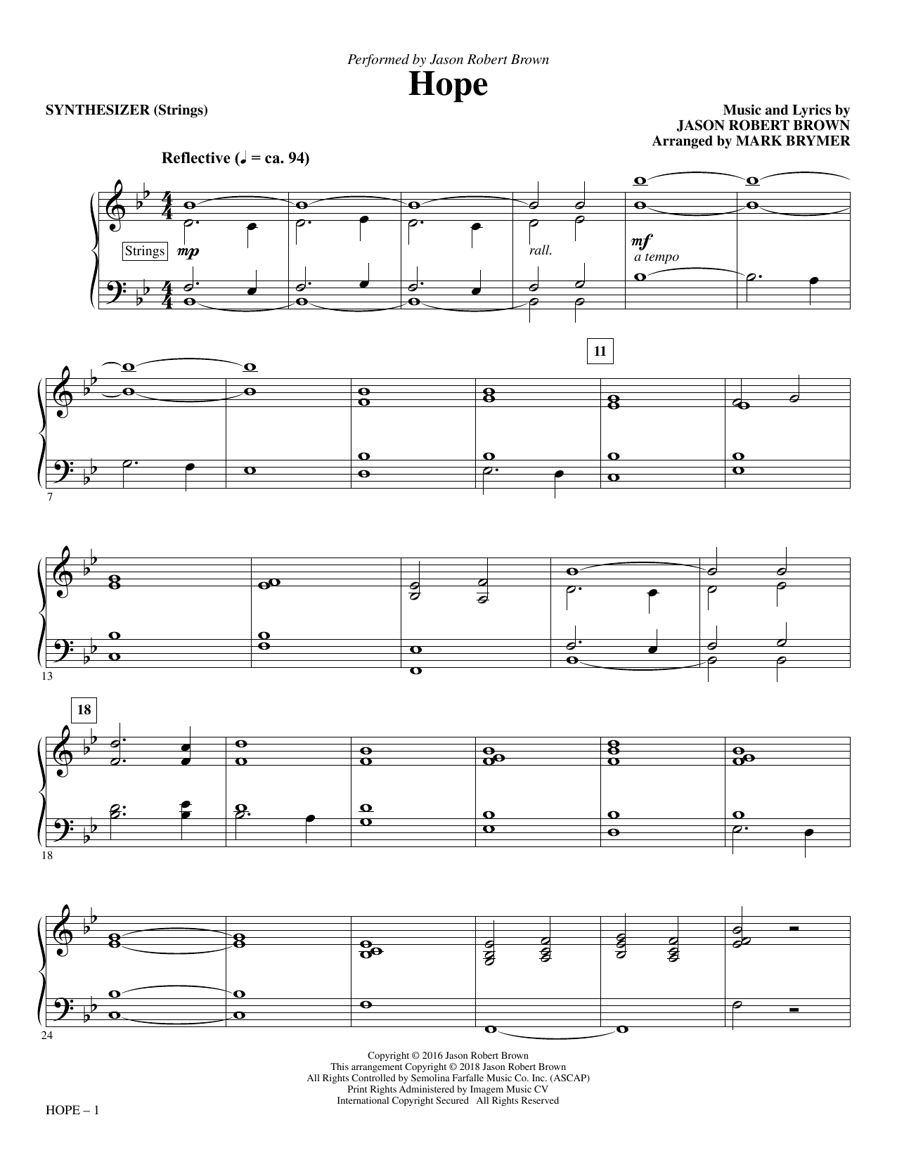 page one of Hope (arr. Mark Brymer) - SynthesizerASALTTEXT