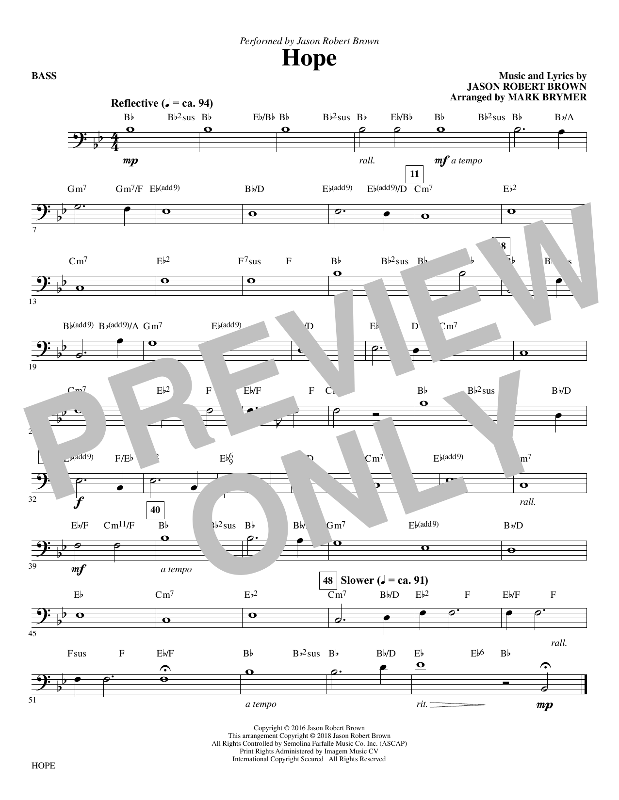 page one of Hope (arr. Mark Brymer) - BassASALTTEXT