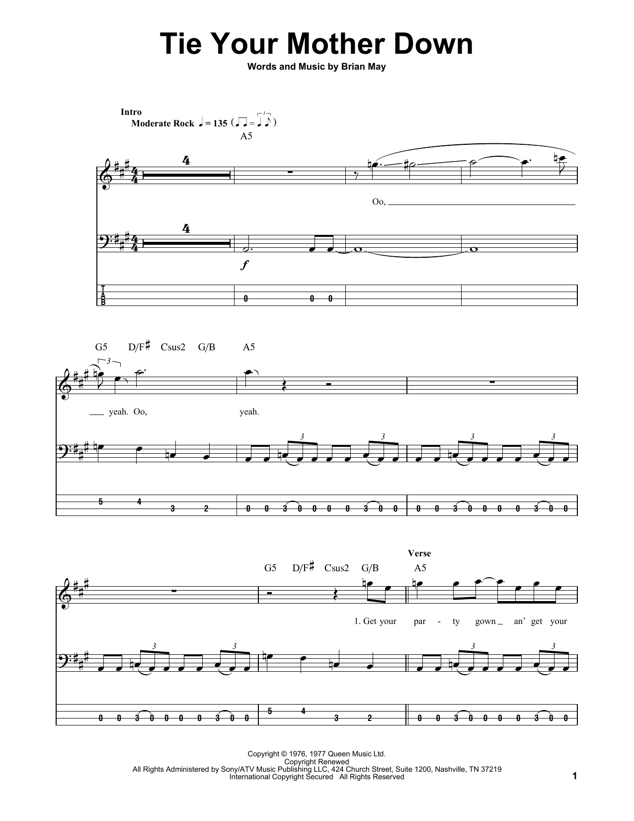 Tie Your Mother Down (Bass Guitar Tab)