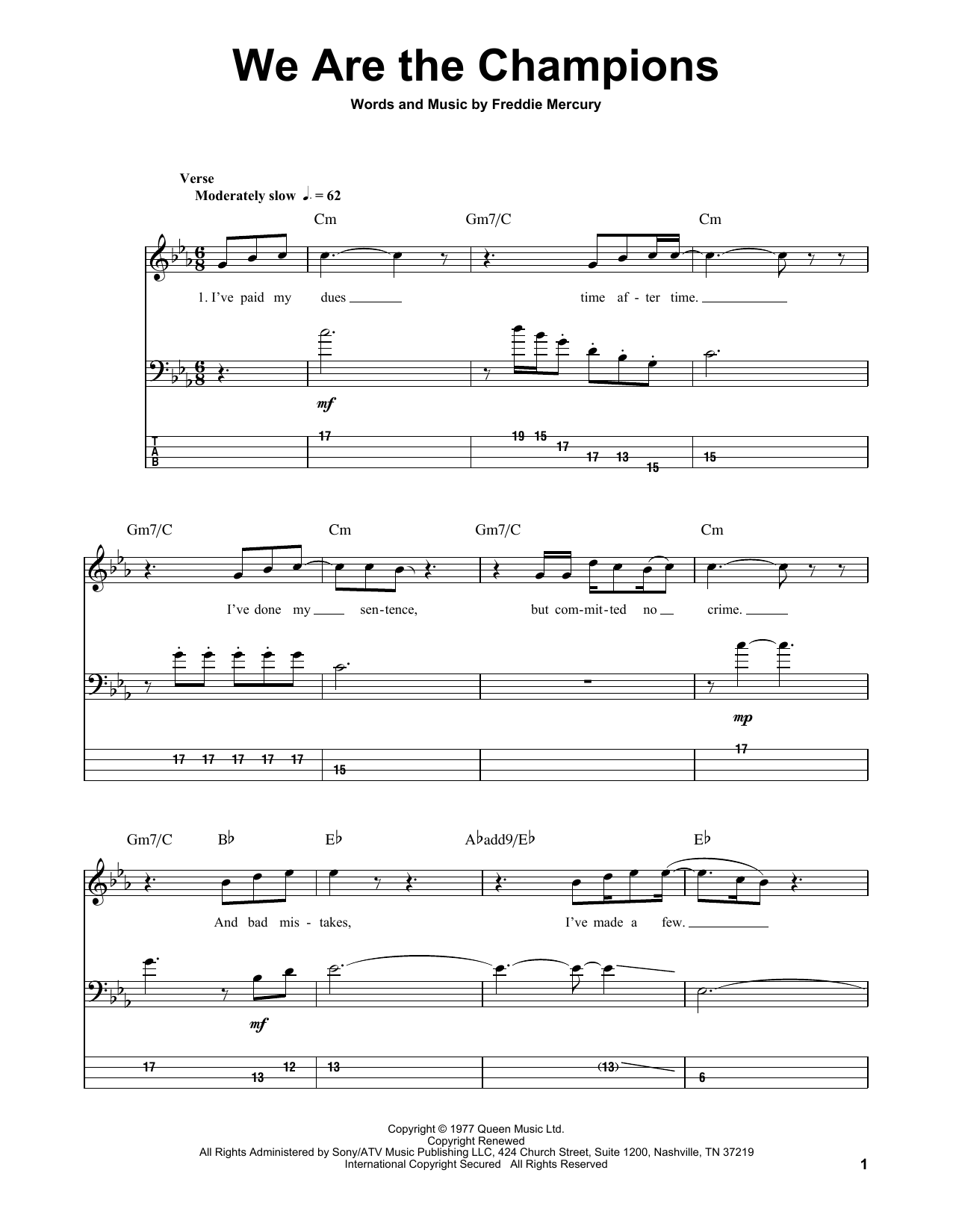We Are The Champions (Bass Guitar Tab)