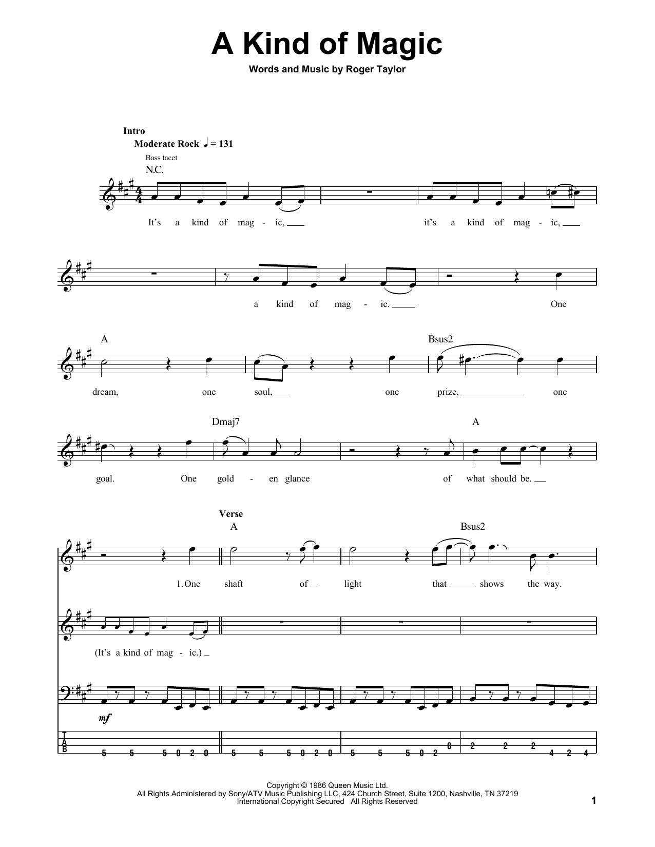 A Kind Of Magic (Bass Guitar Tab)