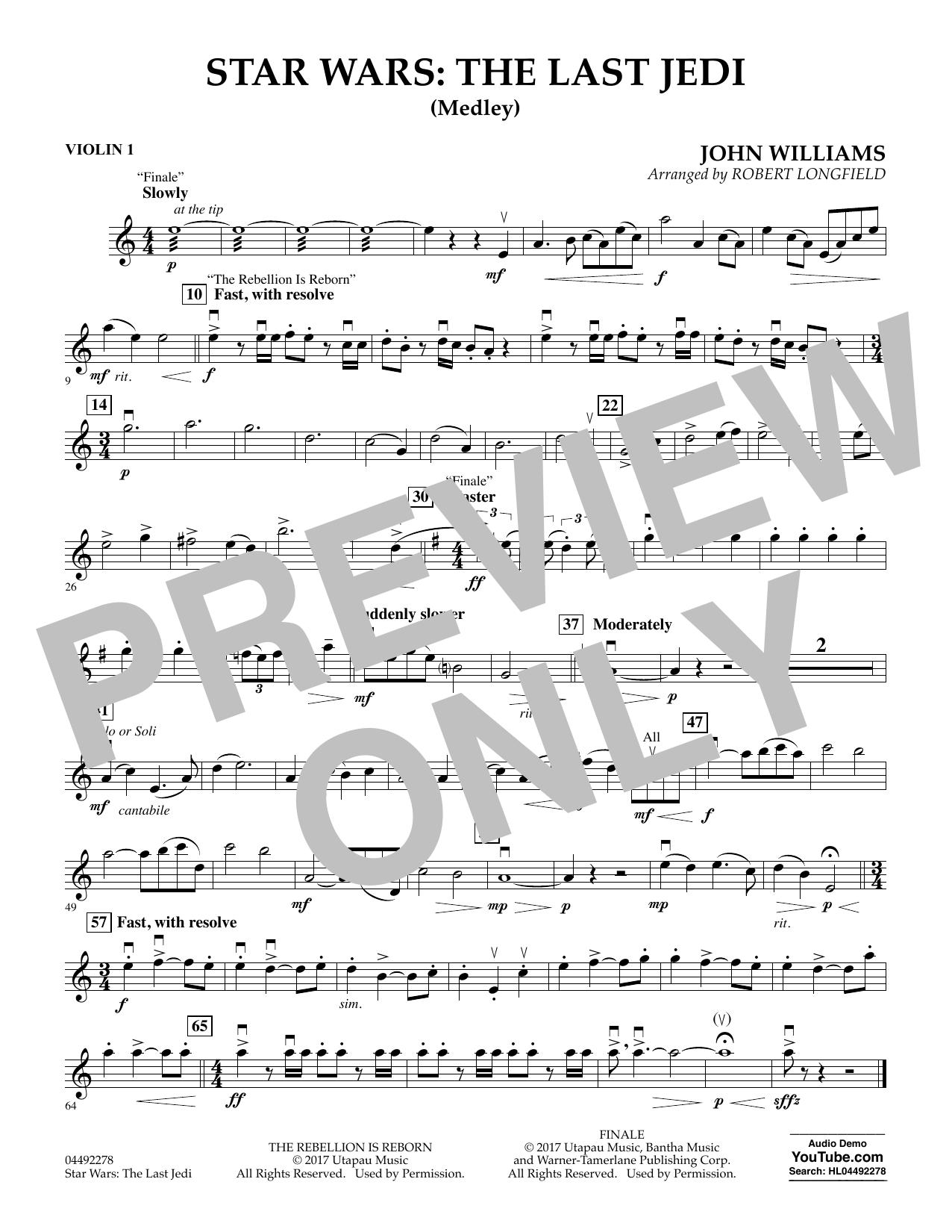 Star Wars: The Last Jedi (Medley) (arr. Robert Longfield) - Violin 1 (Orchestra)