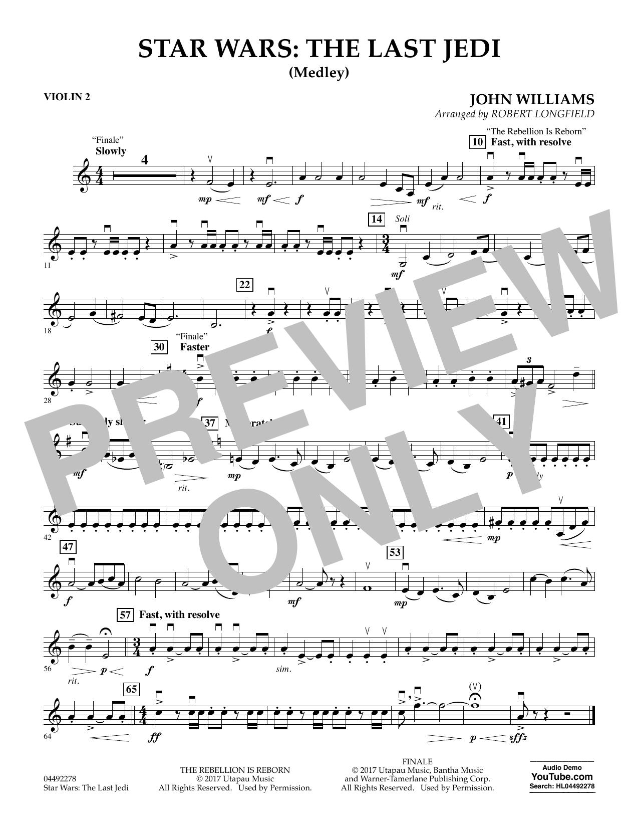 Star Wars: The Last Jedi (Medley) (arr. Robert Longfield) - Violin 2 (Orchestra)