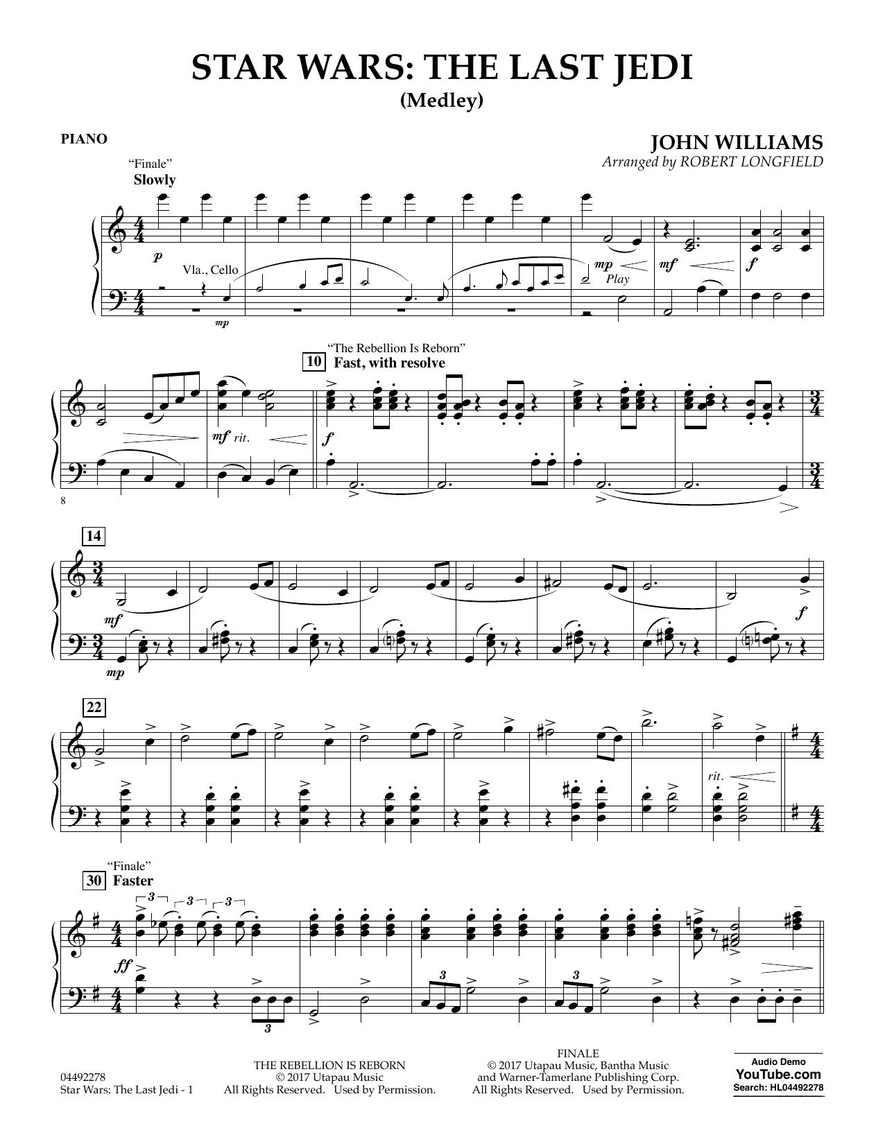 Star Wars: The Last Jedi (Medley) (arr. Robert Longfield) - Piano (Orchestra)