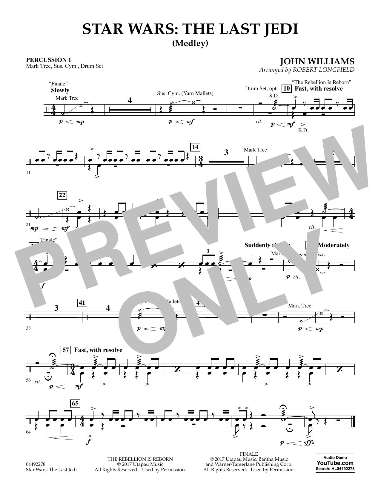 Star Wars: The Last Jedi (Medley) (arr. Robert Longfield) - Percussion 1 (Orchestra)