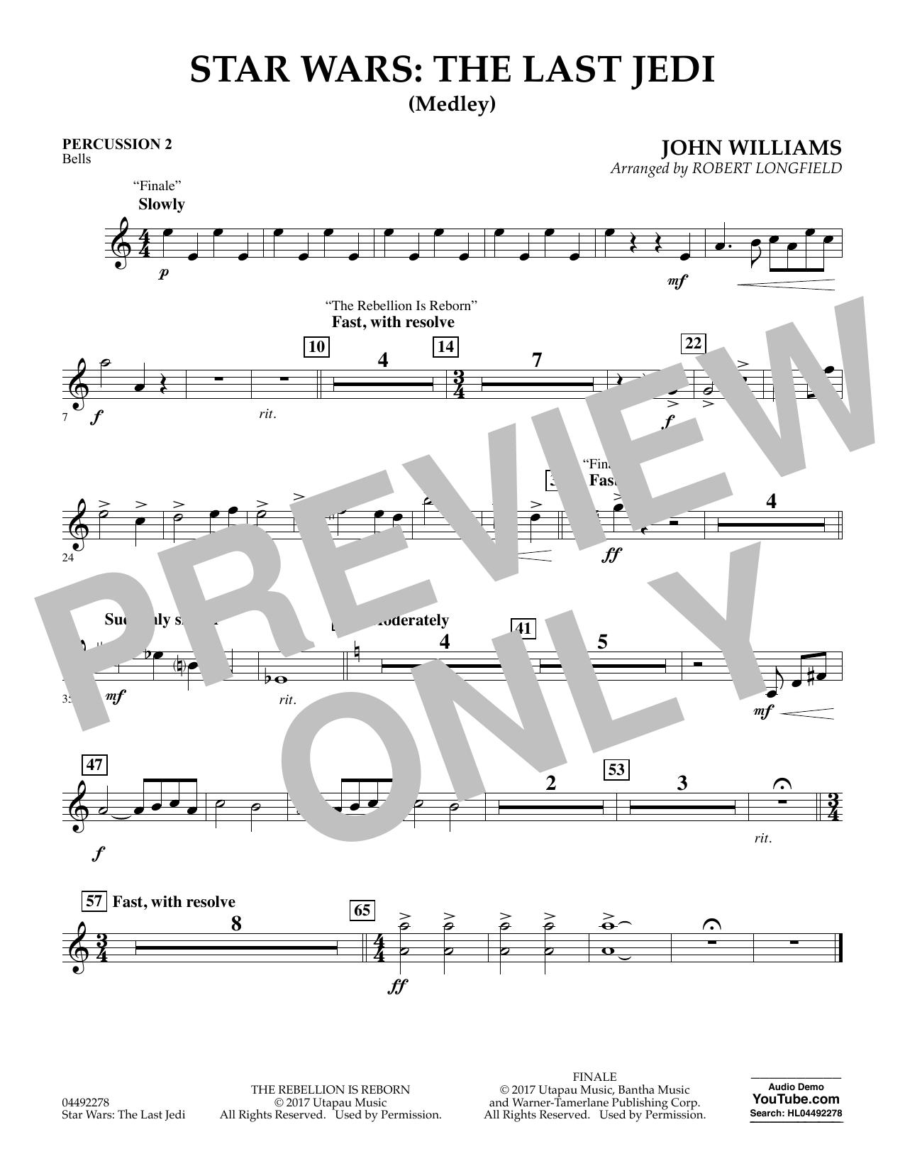 Star Wars: The Last Jedi (Medley) (arr. Robert Longfield) - Percussion 2 (Orchestra)