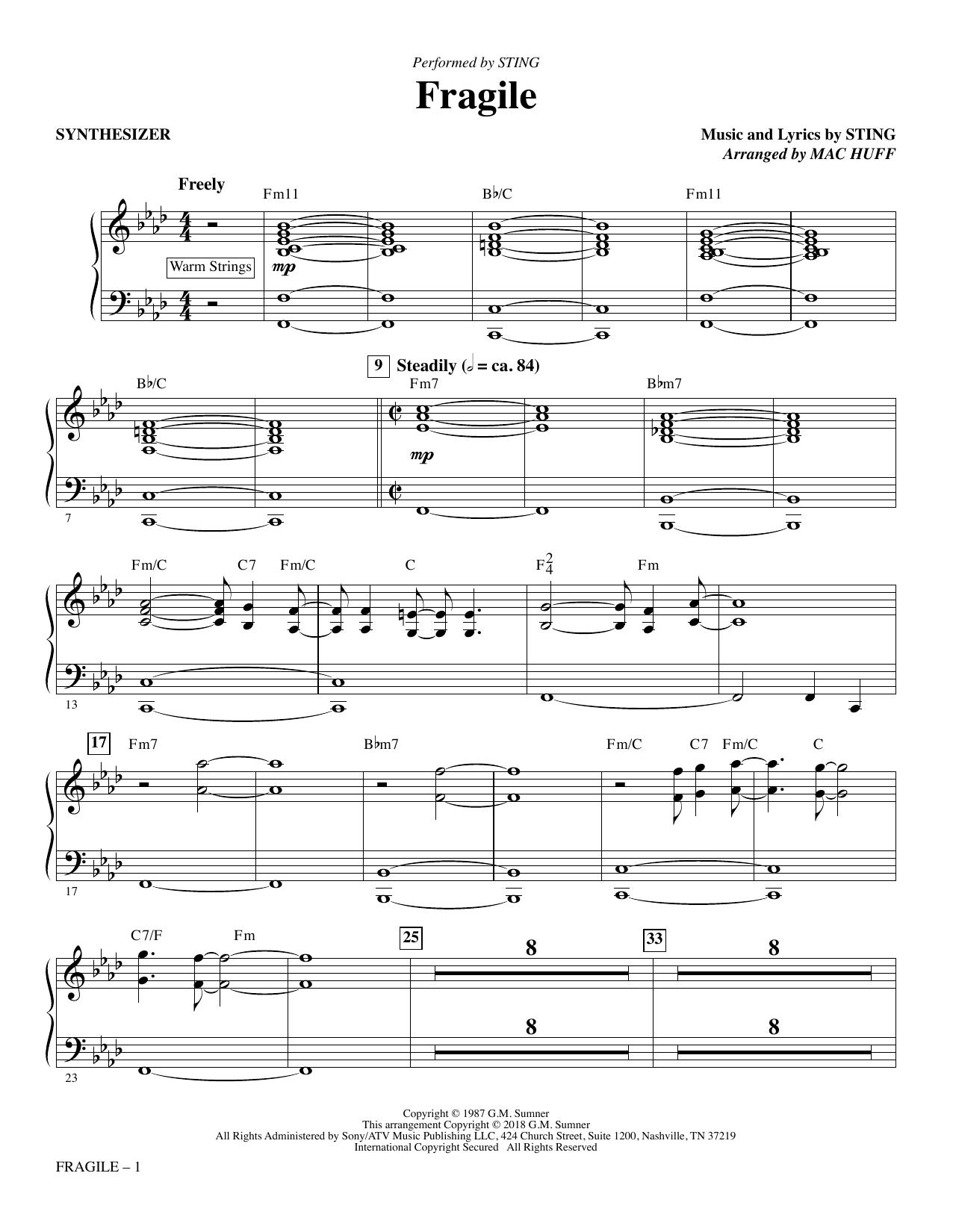 Fragile (arr. Mac Huff) - Synthesizer (Choir Instrumental Pak)